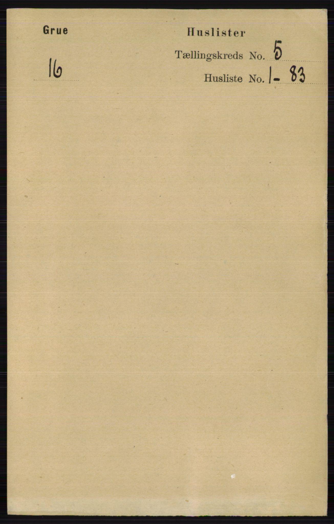 RA, Folketelling 1891 for 0423 Grue herred, 1891, s. 2609