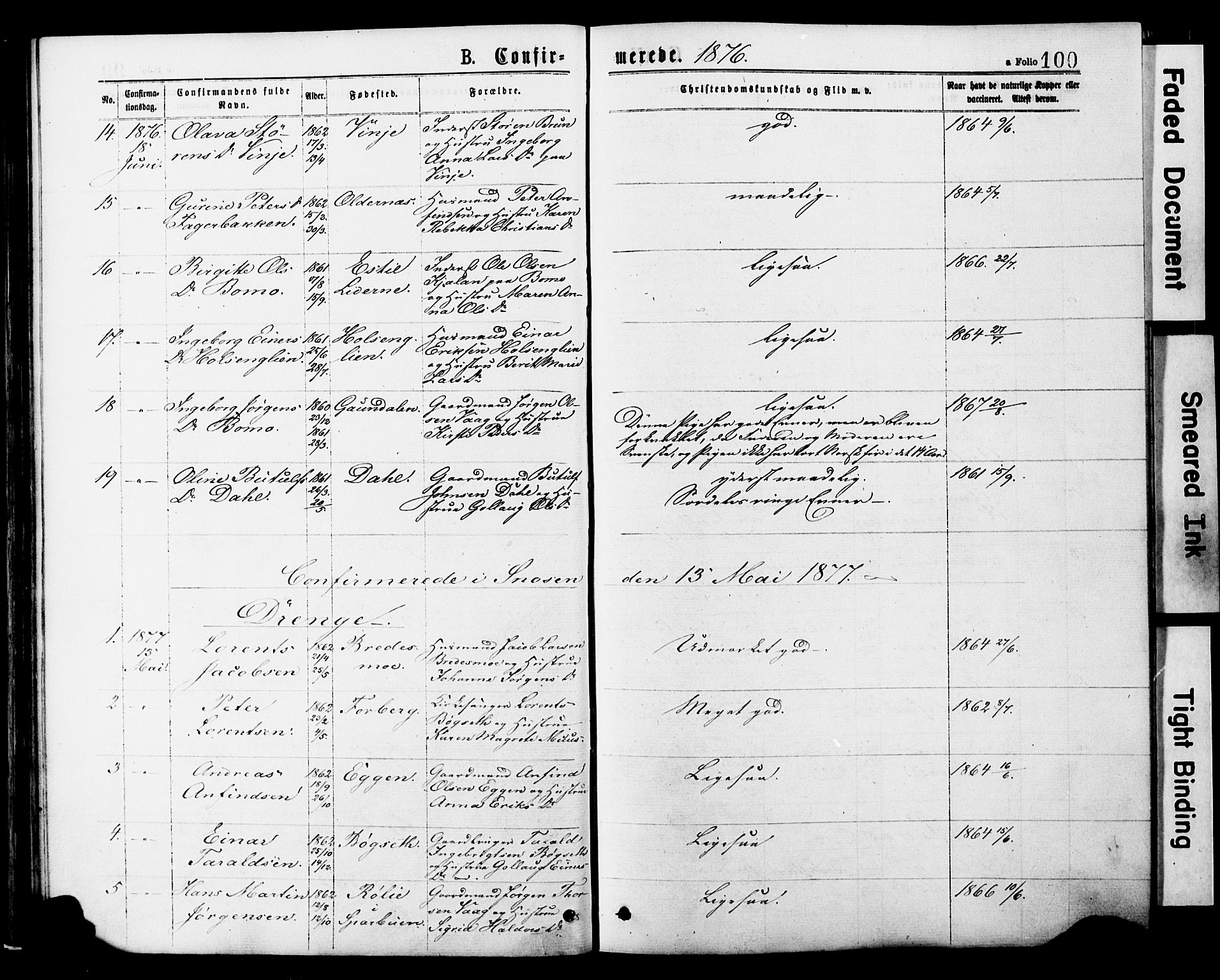 SAT, Ministerialprotokoller, klokkerbøker og fødselsregistre - Nord-Trøndelag, 749/L0473: Ministerialbok nr. 749A07, 1873-1887, s. 100