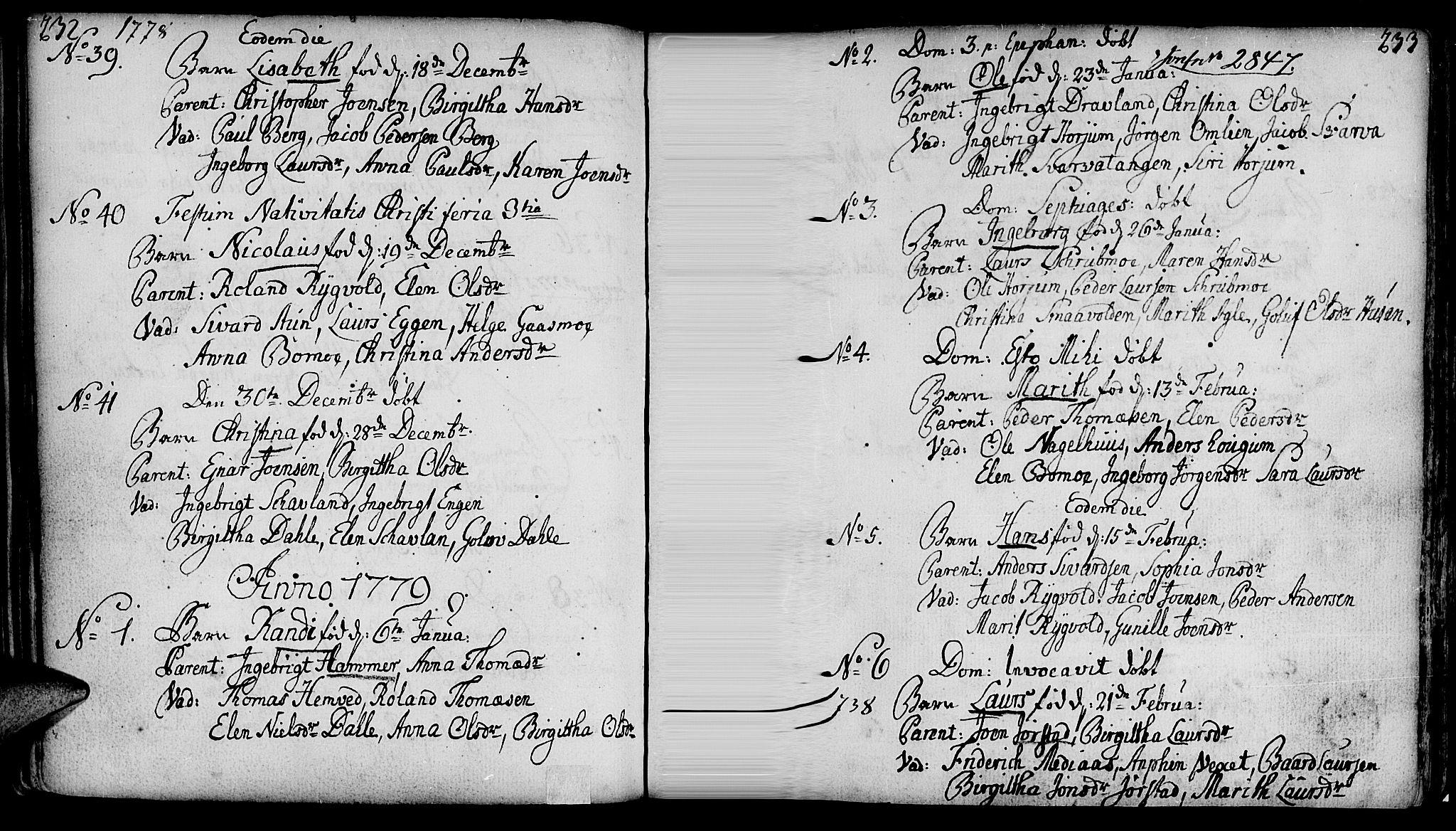 SAT, Ministerialprotokoller, klokkerbøker og fødselsregistre - Nord-Trøndelag, 749/L0467: Ministerialbok nr. 749A01, 1733-1787, s. 232-233