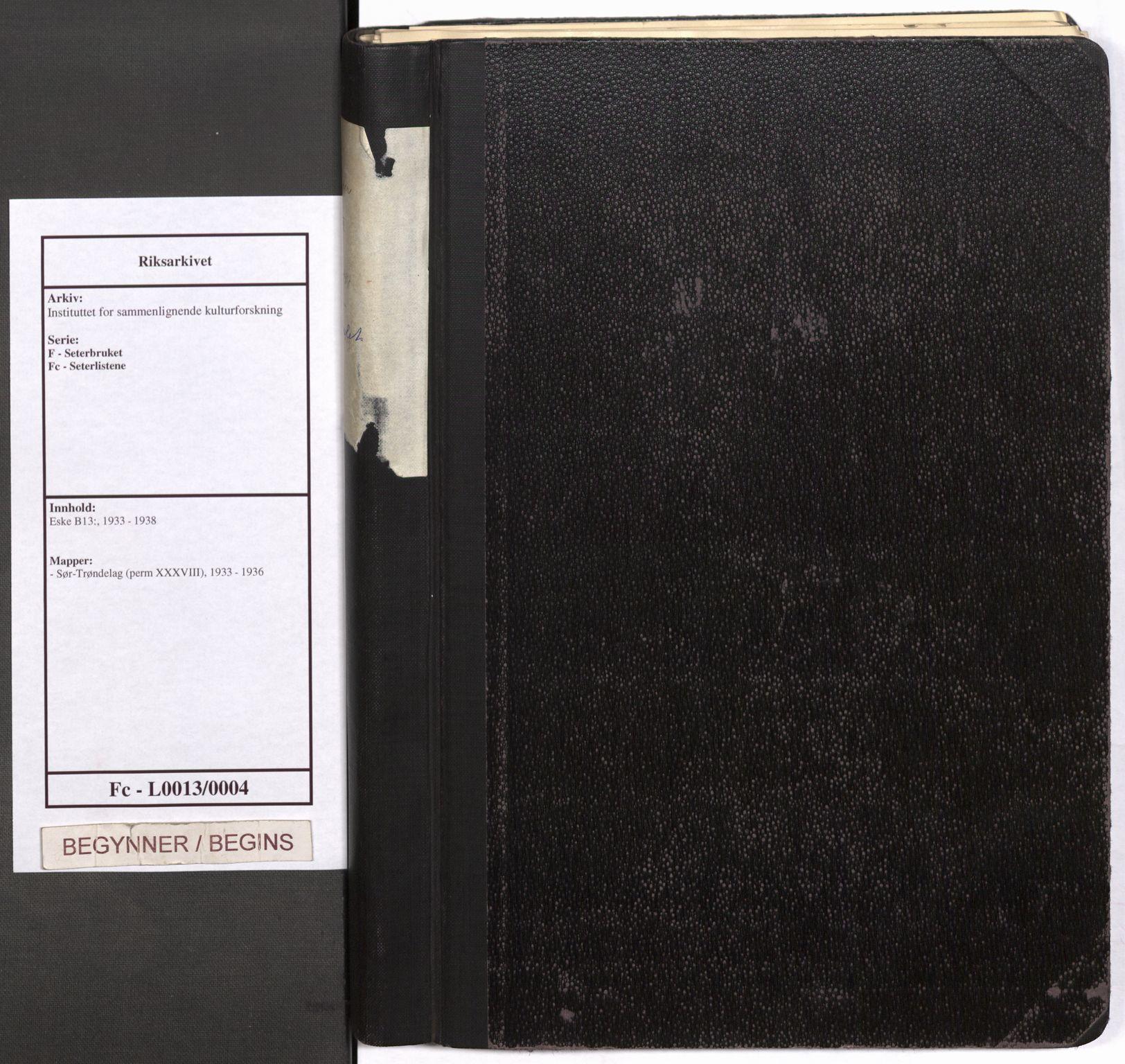 RA, Instituttet for sammenlignende kulturforskning, F/Fc/L0013: Eske B13:, 1933-1936, s. upaginert