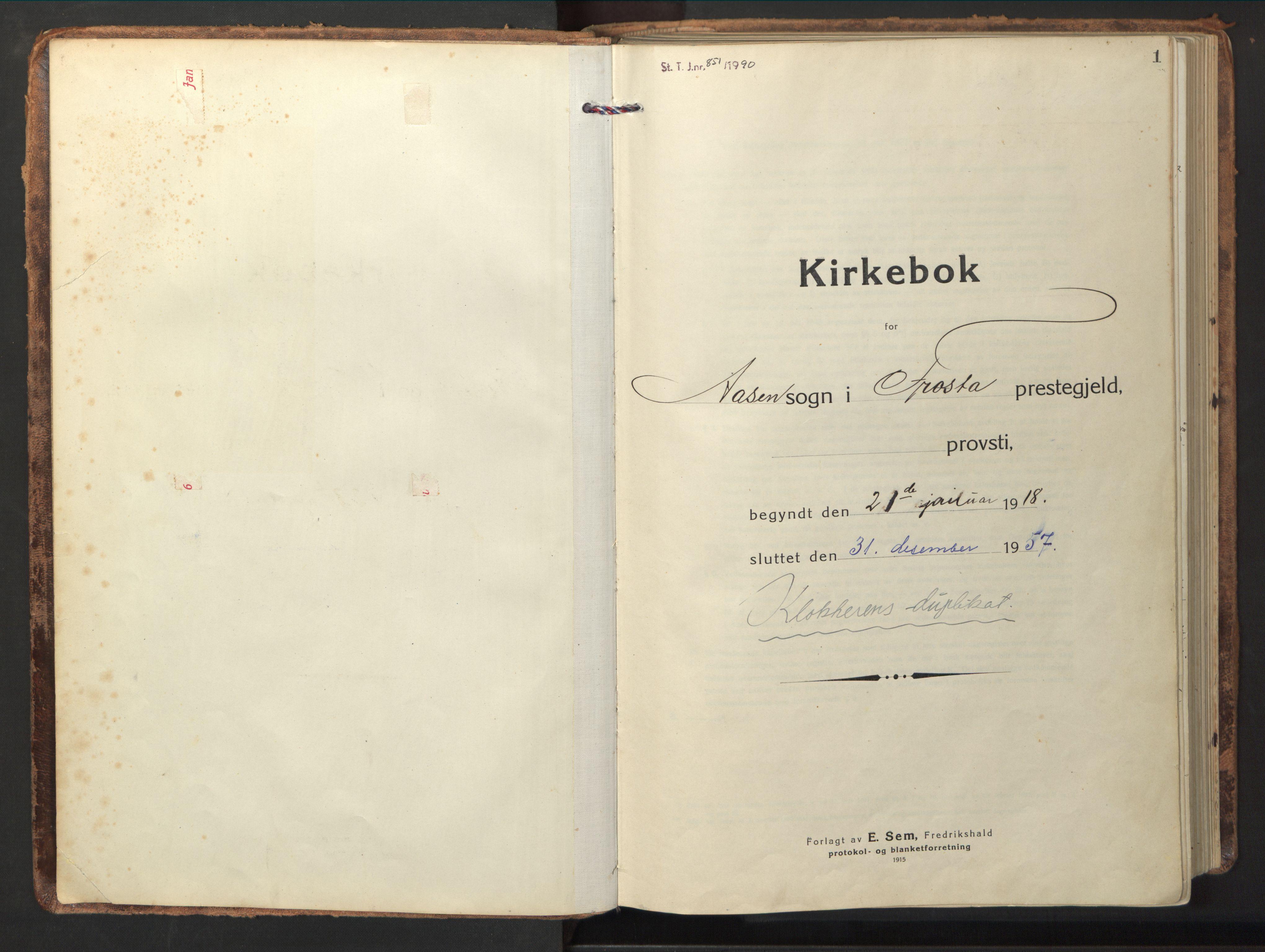 SAT, Ministerialprotokoller, klokkerbøker og fødselsregistre - Nord-Trøndelag, 714/L0136: Klokkerbok nr. 714C05, 1918-1957, s. 1