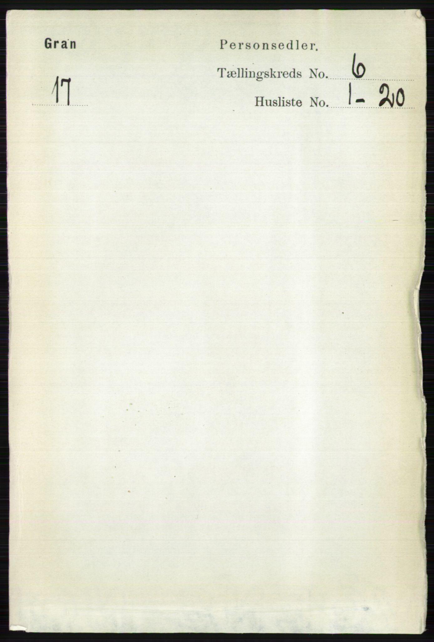 RA, Folketelling 1891 for 0534 Gran herred, 1891, s. 2229