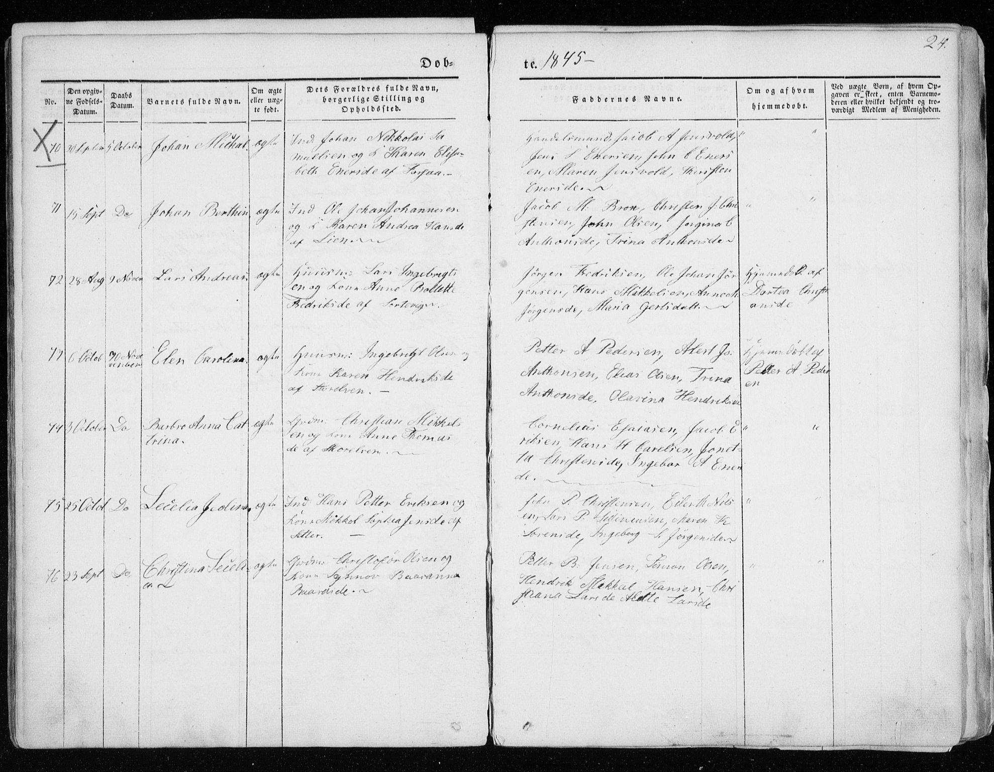 SATØ, Tranøy sokneprestkontor, I/Ia/Iaa/L0006kirke: Ministerialbok nr. 6, 1844-1855, s. 24