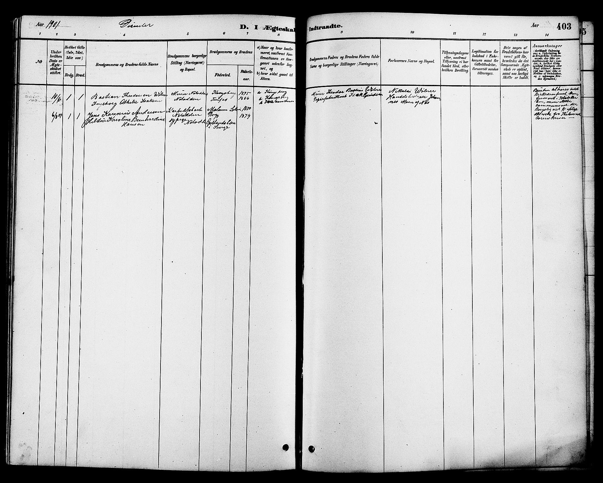 SAKO, Heddal kirkebøker, G/Ga/L0002: Klokkerbok nr. I 2, 1879-1908, s. 403