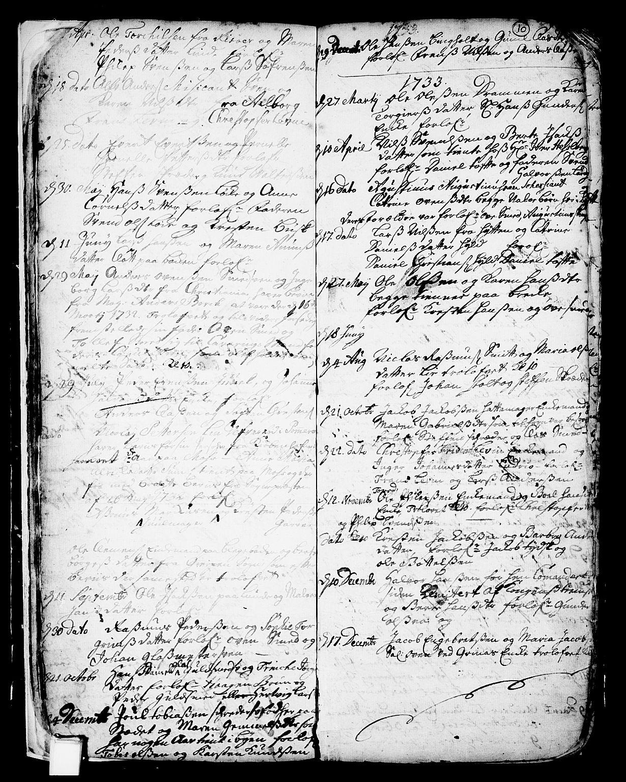 SAKO, Skien kirkebøker, F/Fa/L0002: Ministerialbok nr. 2, 1716-1757, s. 10