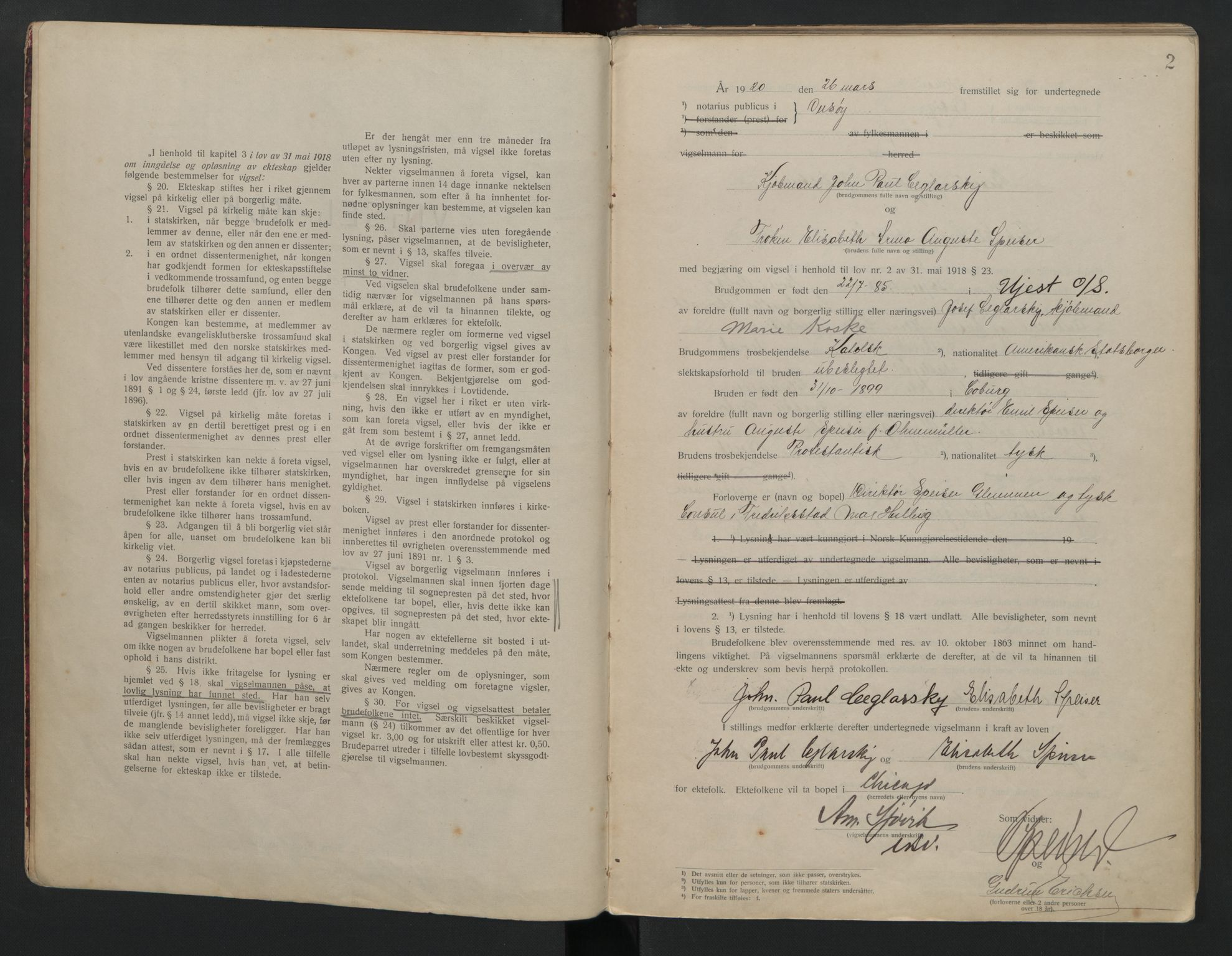 SAO, Onsøy sorenskriveri, L/La/L0001: Vigselsbok, 1920-1942, s. 2