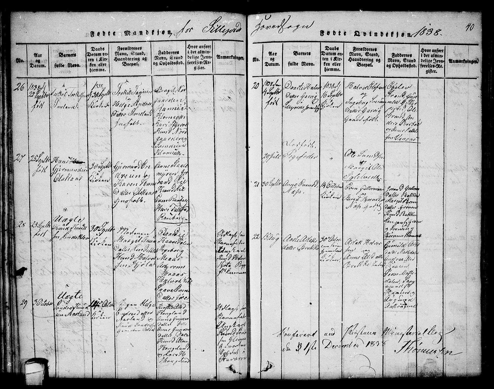 SAKO, Seljord kirkebøker, F/Fc/L0001: Ministerialbok nr. III 1, 1815-1831, s. 40
