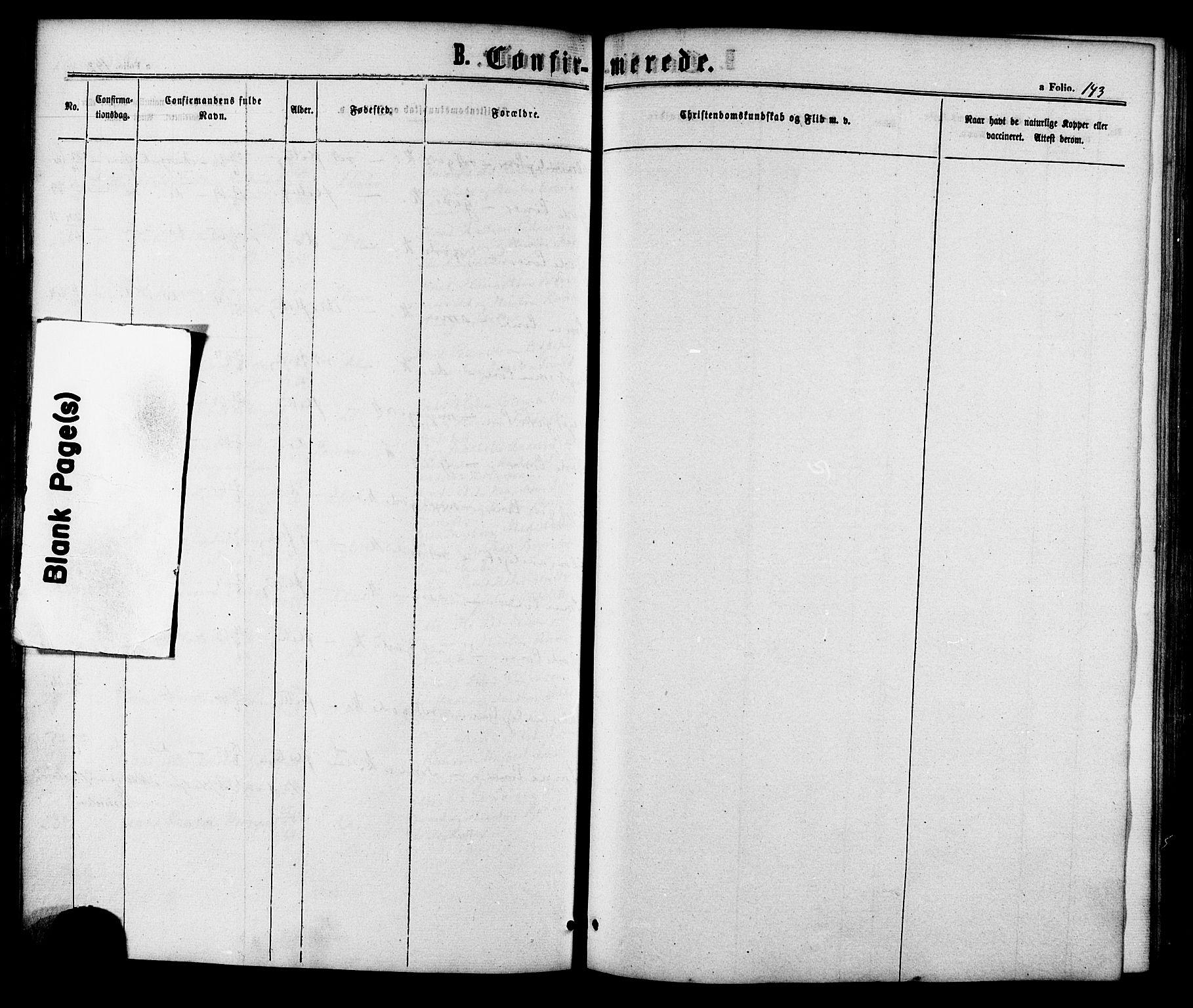 SAT, Ministerialprotokoller, klokkerbøker og fødselsregistre - Sør-Trøndelag, 618/L0442: Ministerialbok nr. 618A06 /1, 1863-1879, s. 143