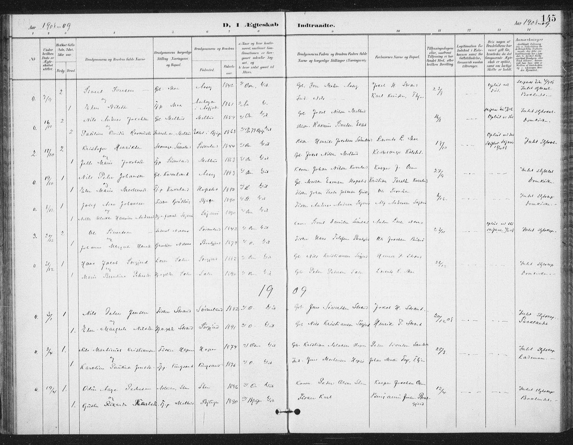 SAT, Ministerialprotokoller, klokkerbøker og fødselsregistre - Sør-Trøndelag, 658/L0723: Ministerialbok nr. 658A02, 1897-1912, s. 145