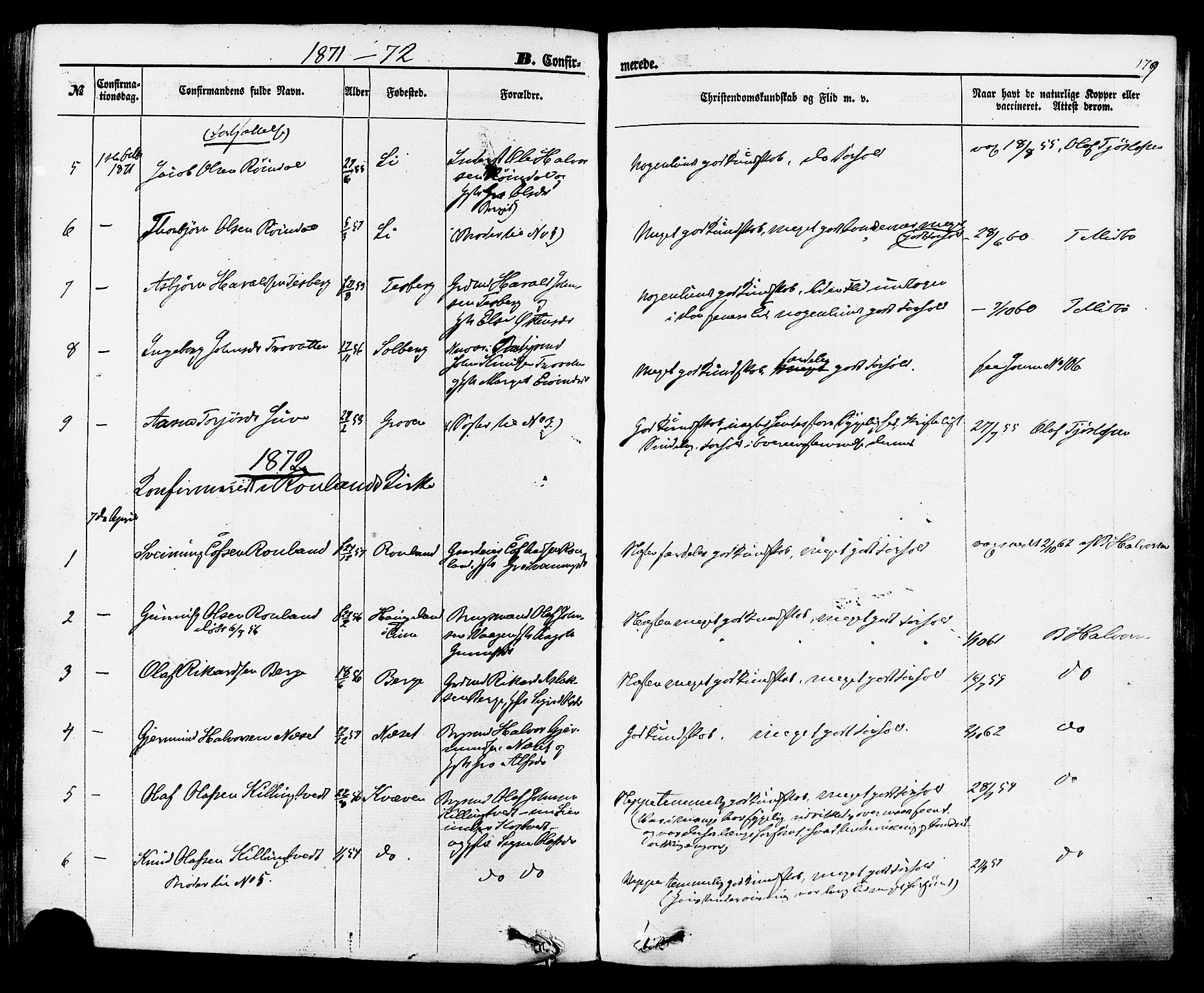 SAKO, Rauland kirkebøker, F/Fa/L0003: Ministerialbok nr. 3, 1859-1886, s. 179