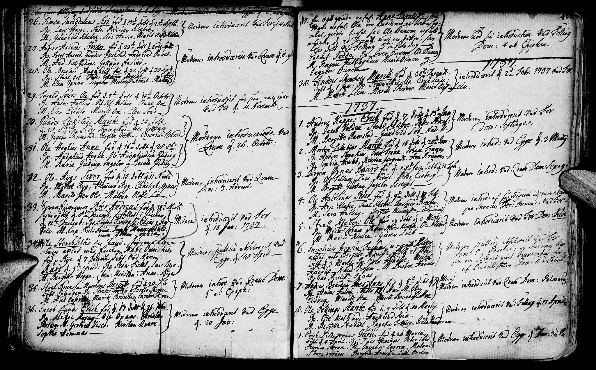 SAT, Ministerialprotokoller, klokkerbøker og fødselsregistre - Nord-Trøndelag, 746/L0439: Ministerialbok nr. 746A01, 1688-1759, s. 42