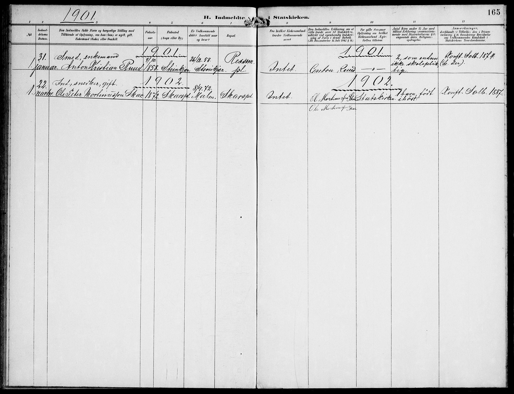 SAT, Ministerialprotokoller, klokkerbøker og fødselsregistre - Nord-Trøndelag, 745/L0430: Ministerialbok nr. 745A02, 1895-1913, s. 165