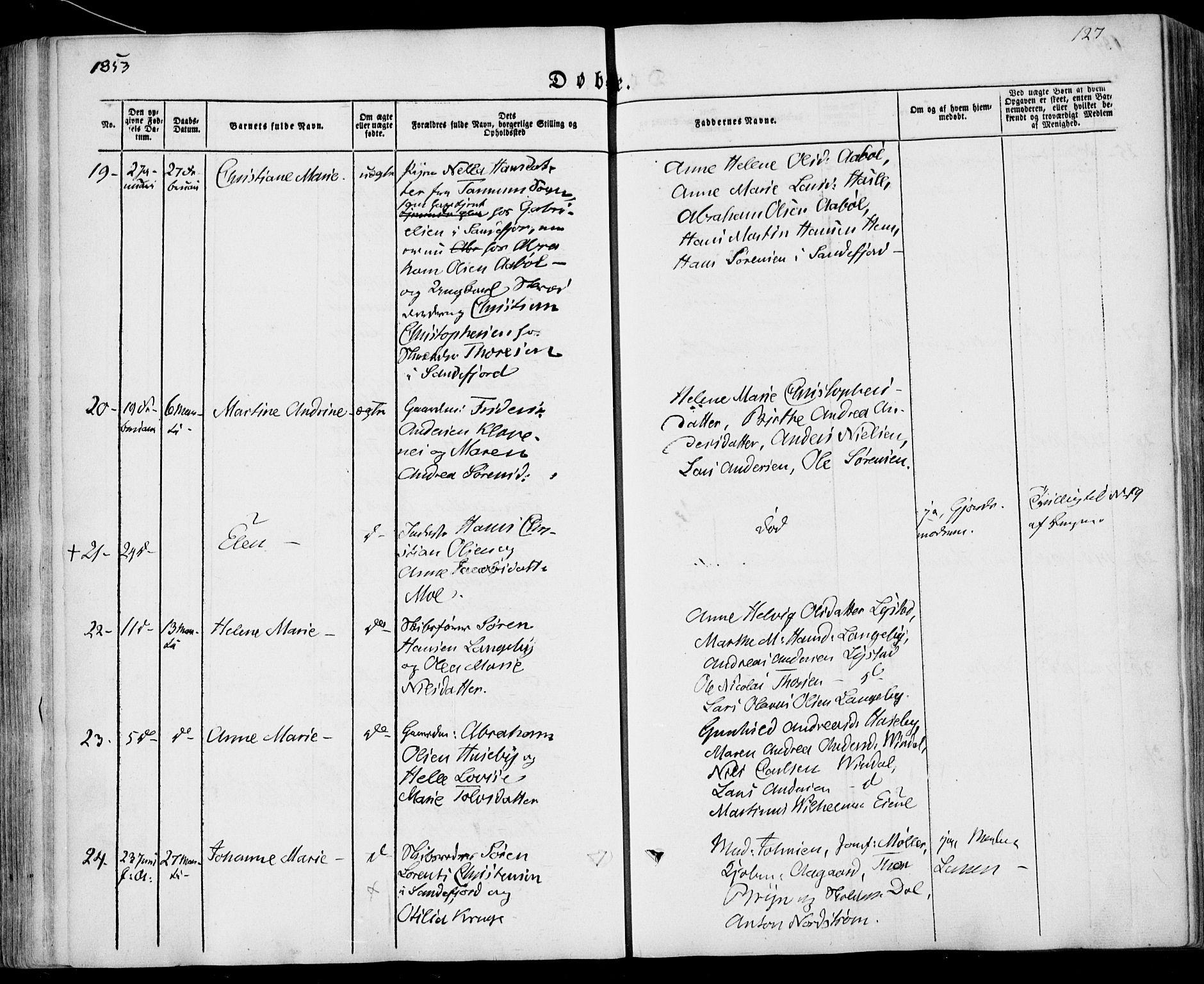 SAKO, Sandar kirkebøker, F/Fa/L0006: Ministerialbok nr. 6, 1847-1860, s. 127