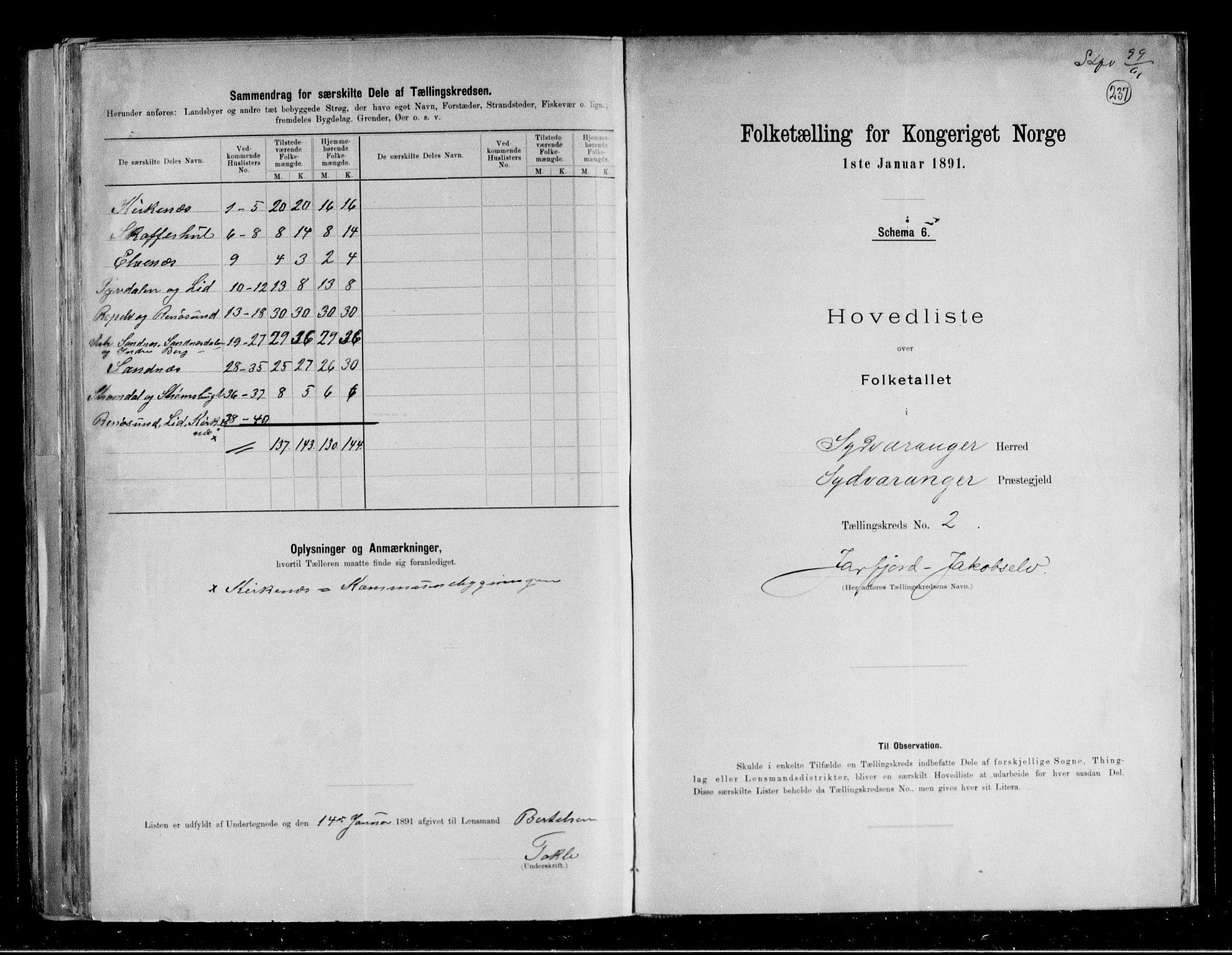 RA, Folketelling 1891 for 2030 Sør-Varanger herred, 1891, s. 7