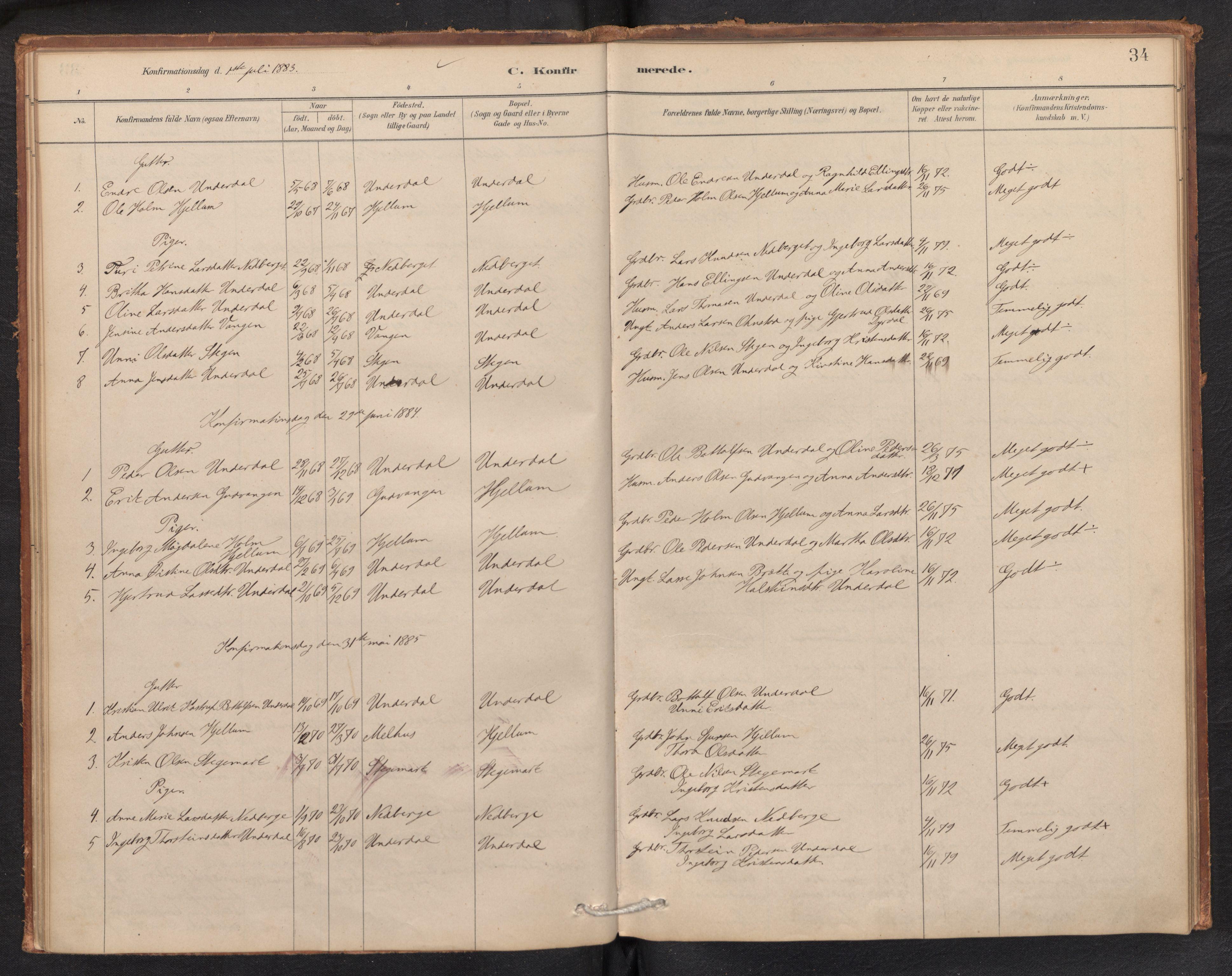 SAB, Aurland Sokneprestembete*, Ministerialbok nr. E 1, 1880-1907, s. 33b-34a