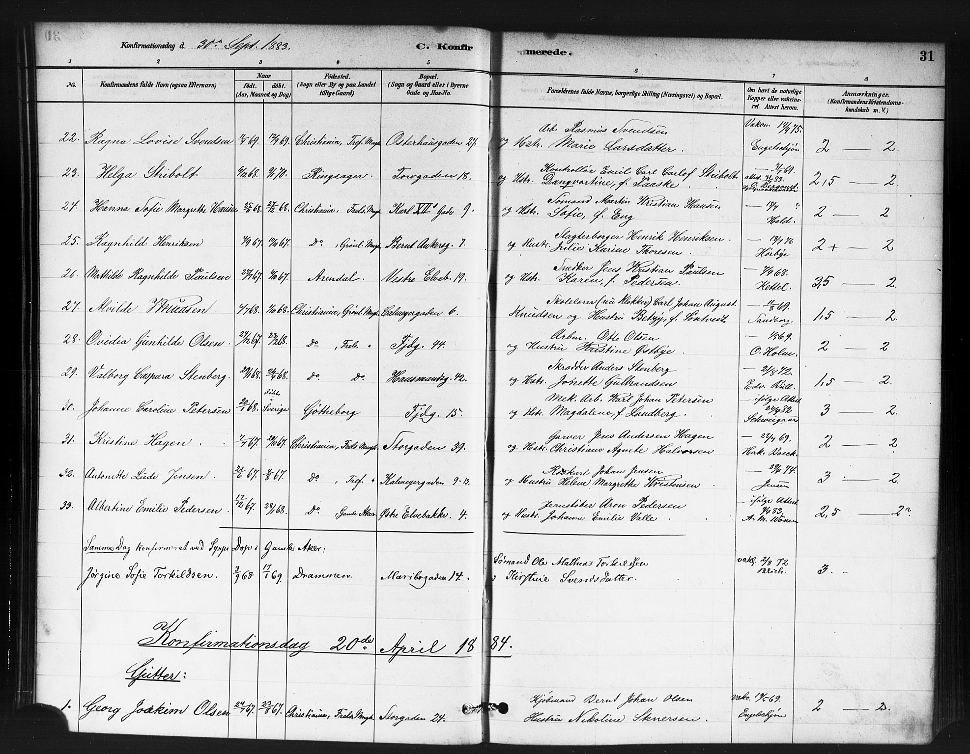 SAO, Jakob prestekontor Kirkebøker, F/Fa/L0004: Ministerialbok nr. 4, 1880-1894, s. 31