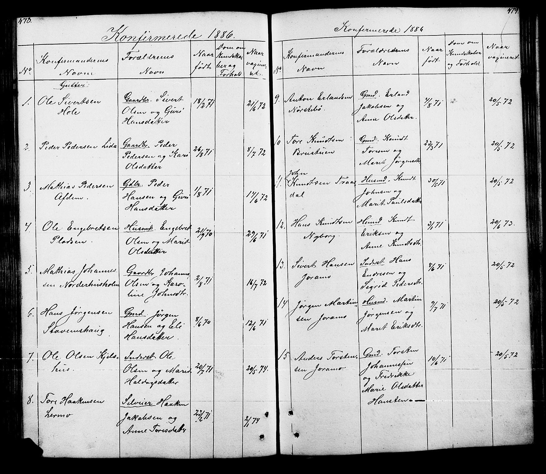 SAH, Lesja prestekontor, Klokkerbok nr. 5, 1850-1894, s. 478-479