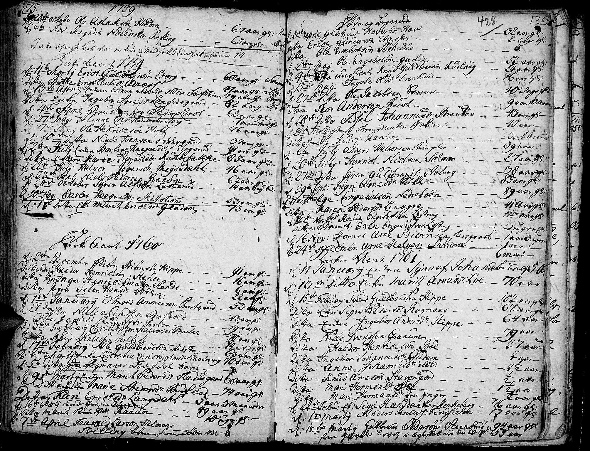 SAH, Aurdal prestekontor, Ministerialbok nr. 4, 1730-1762, s. 75-76