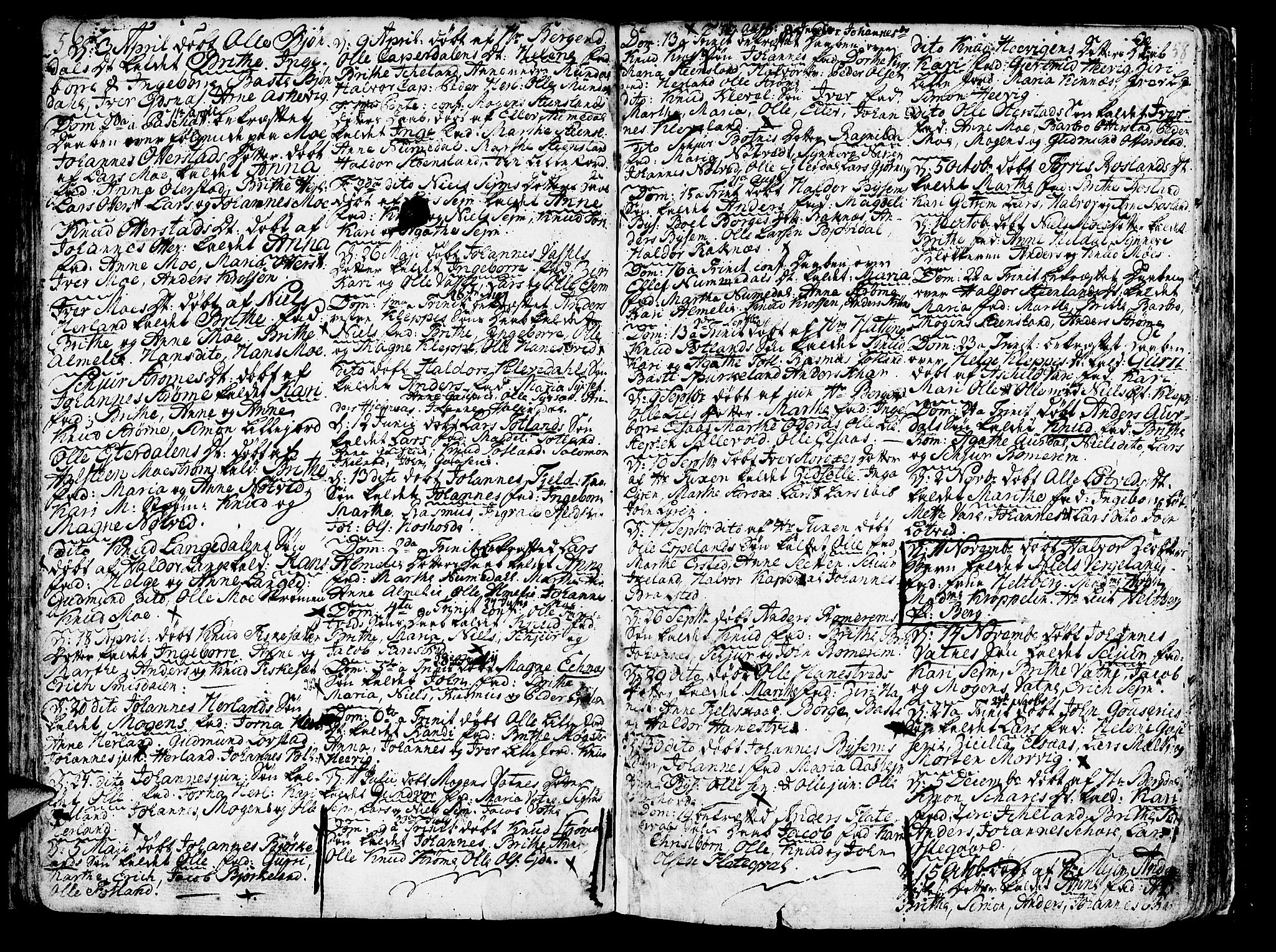 SAB, Hosanger sokneprestembete, H/Haa: Ministerialbok nr. A 2 /1, 1766-1793, s. 58