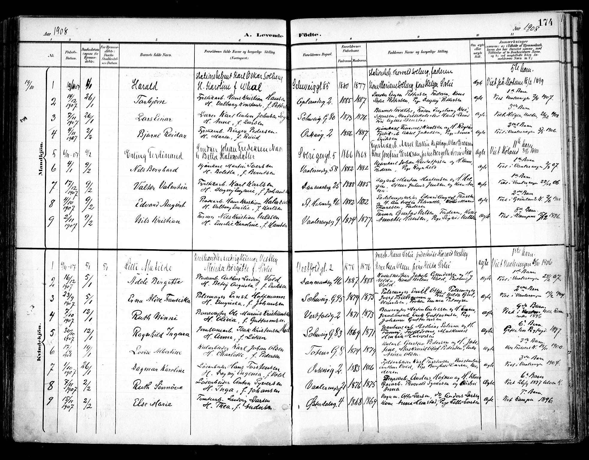 SAO, Vålerengen prestekontor Kirkebøker, F/Fa/L0001: Ministerialbok nr. 1, 1899-1915, s. 174
