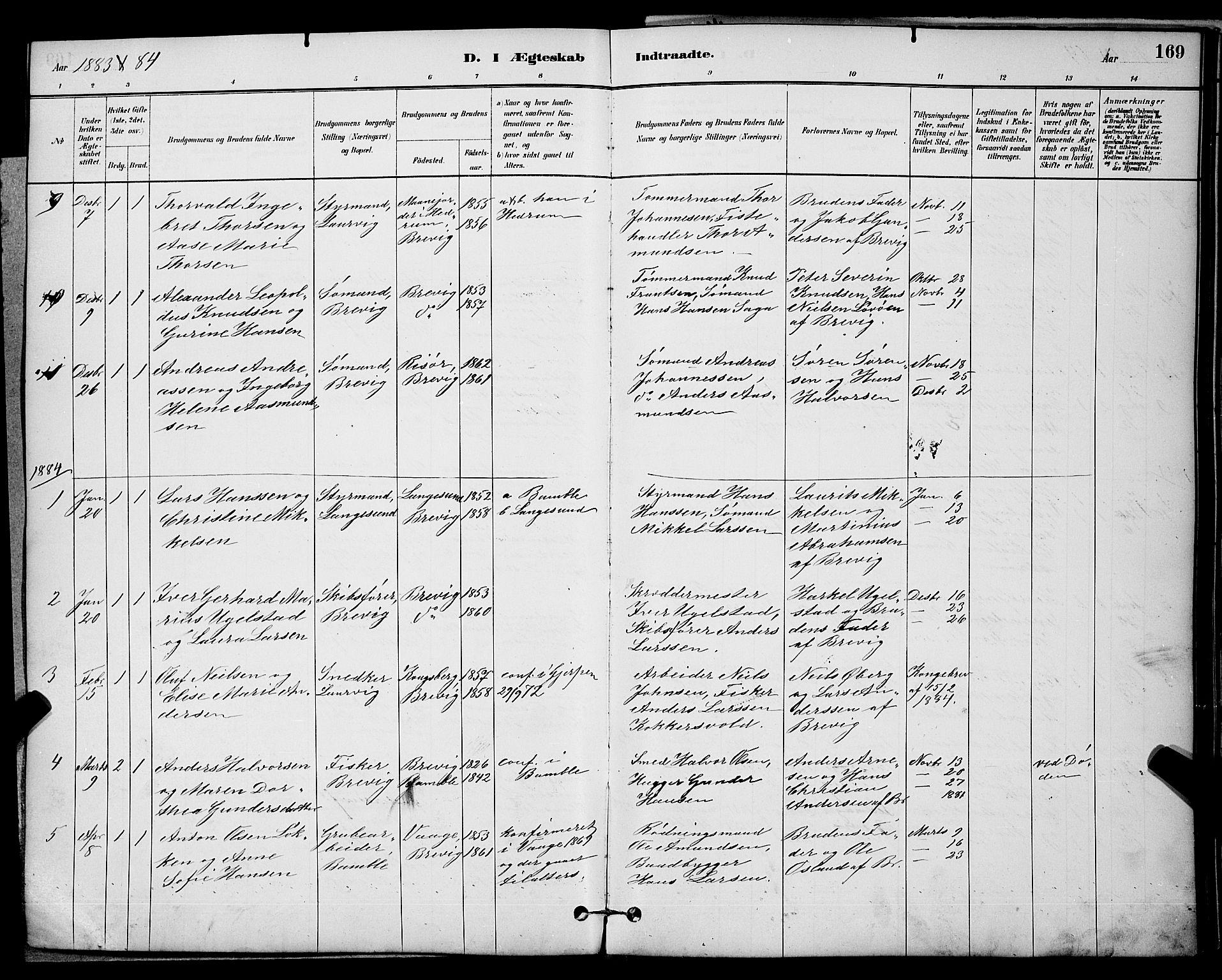 SAKO, Brevik kirkebøker, G/Ga/L0004: Klokkerbok nr. 4, 1882-1900, s. 169