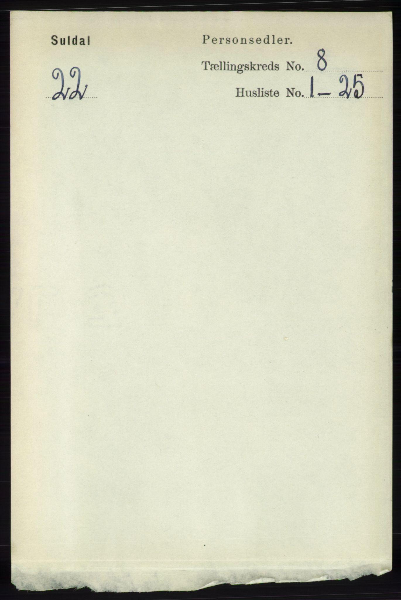 RA, Folketelling 1891 for 1134 Suldal herred, 1891, s. 2295