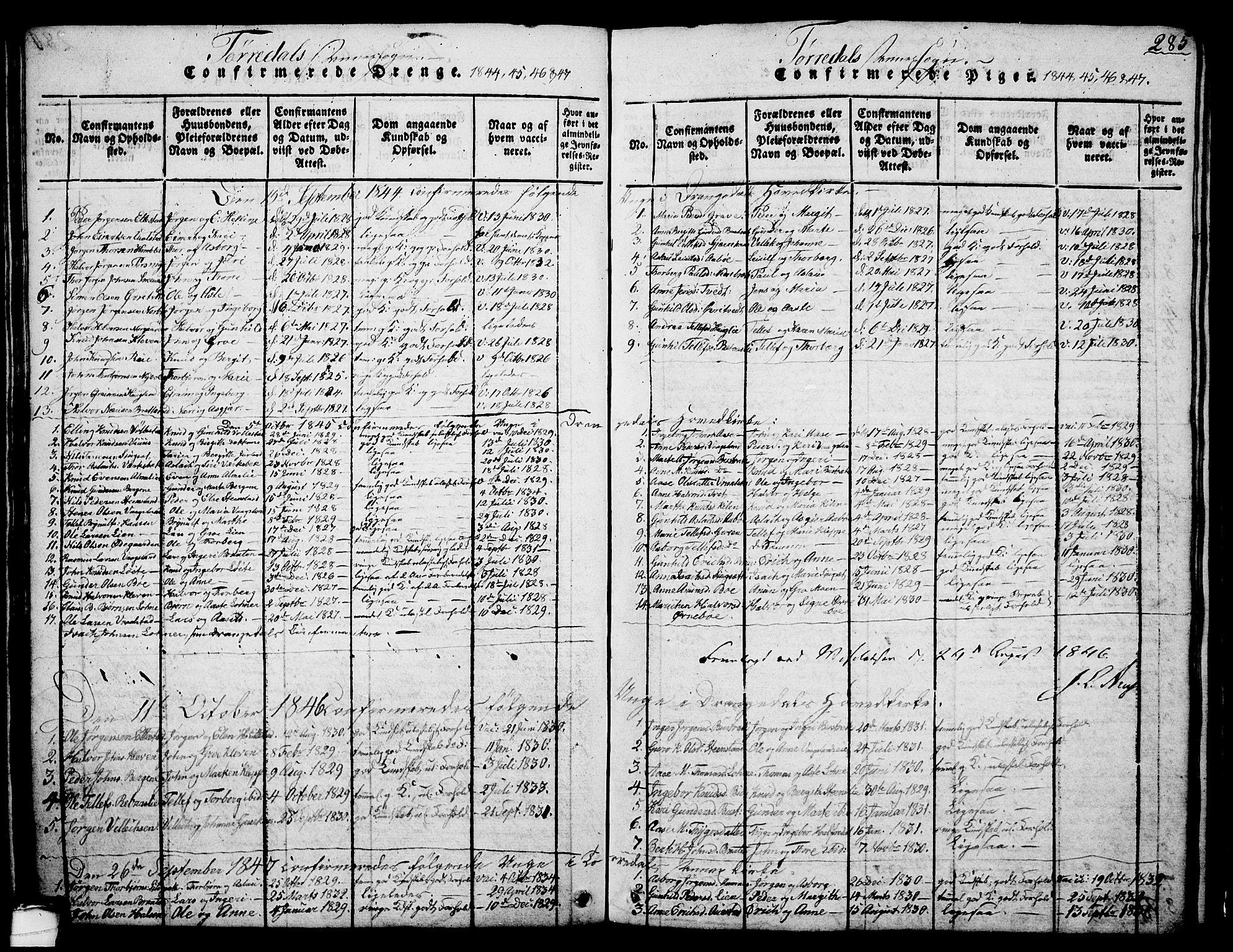 SAKO, Drangedal kirkebøker, G/Ga/L0001: Klokkerbok nr. I 1 /2, 1814-1856, s. 285