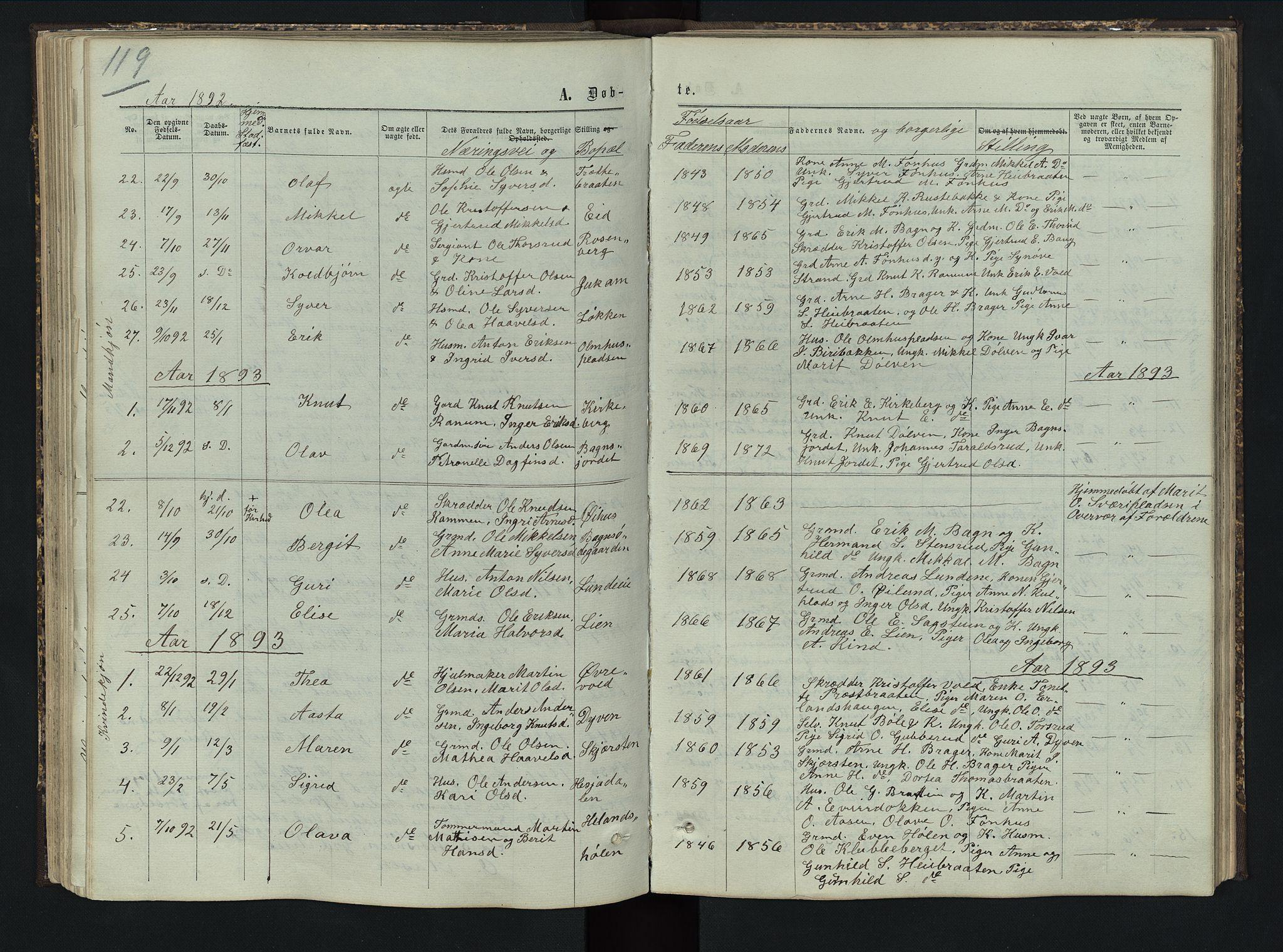 SAH, Sør-Aurdal prestekontor, Klokkerbok nr. 5, 1866-1893, s. 119