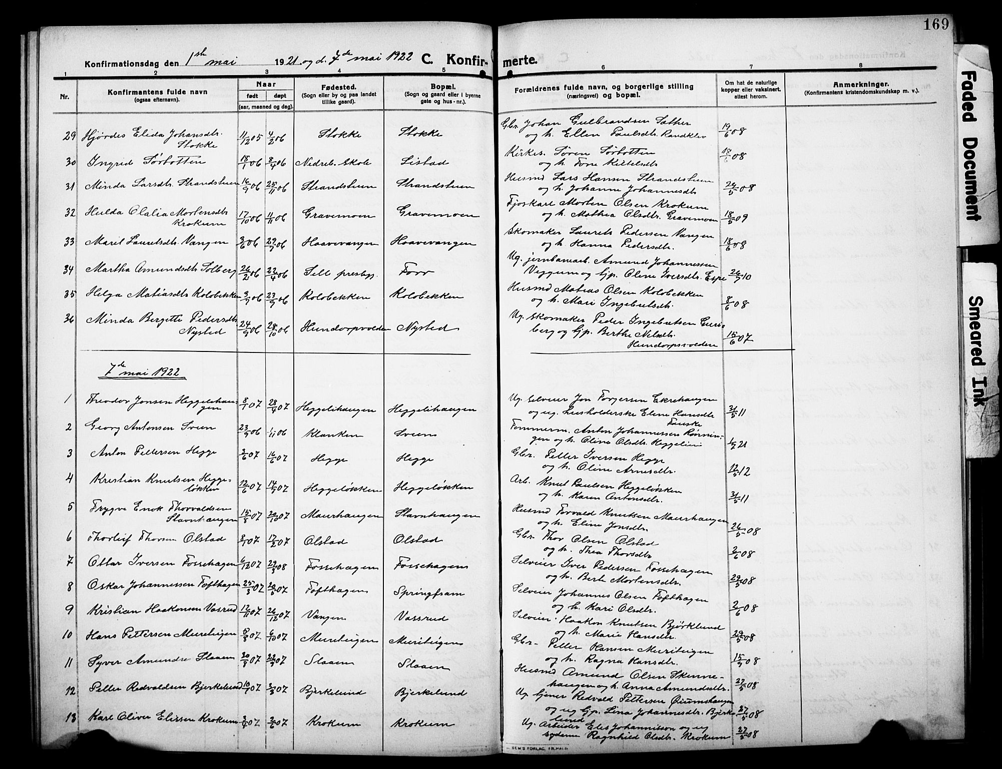 SAH, Sør-Fron prestekontor, H/Ha/Hab/L0005: Klokkerbok nr. 5, 1912-1930, s. 169