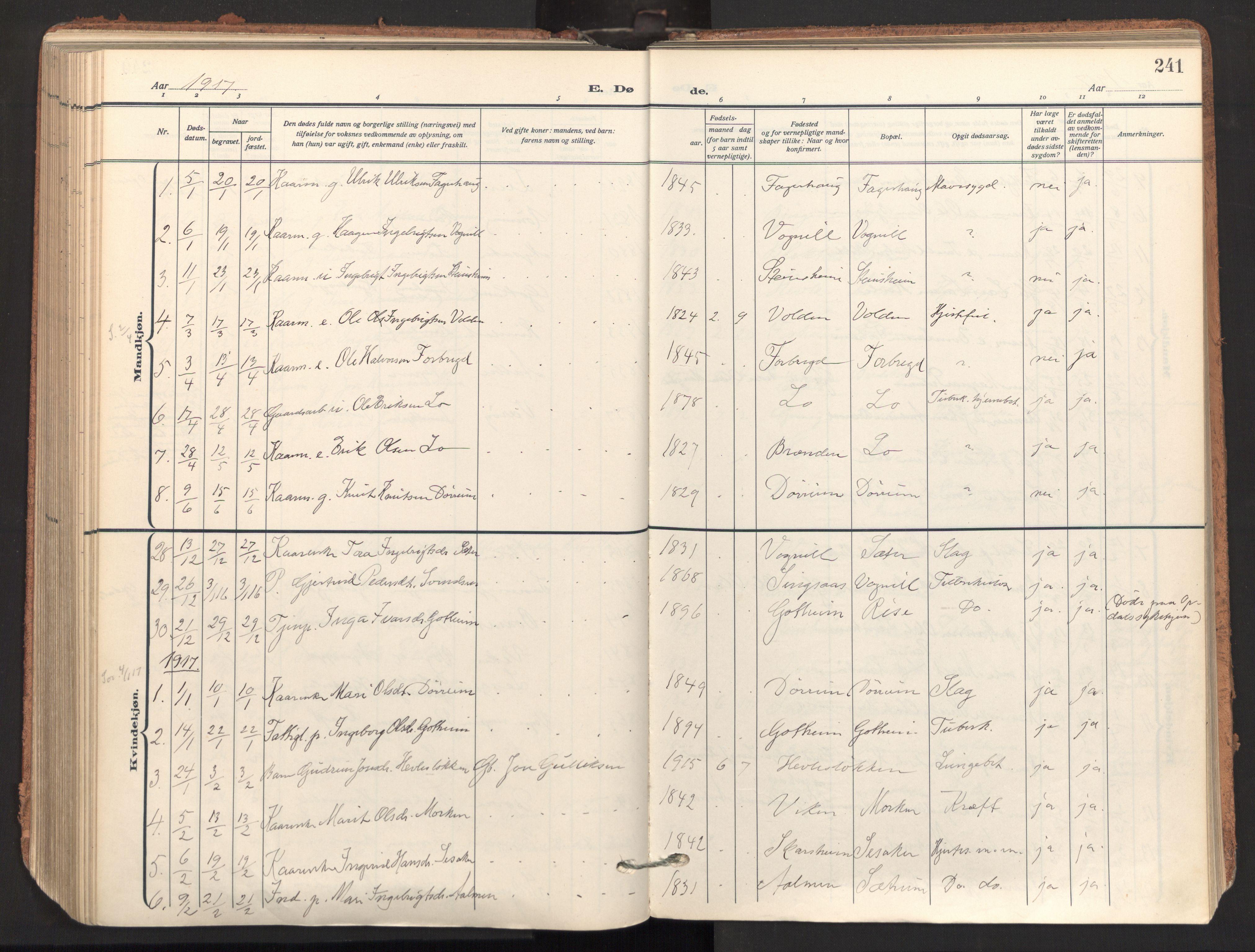 SAT, Ministerialprotokoller, klokkerbøker og fødselsregistre - Sør-Trøndelag, 678/L0909: Ministerialbok nr. 678A17, 1912-1930, s. 241