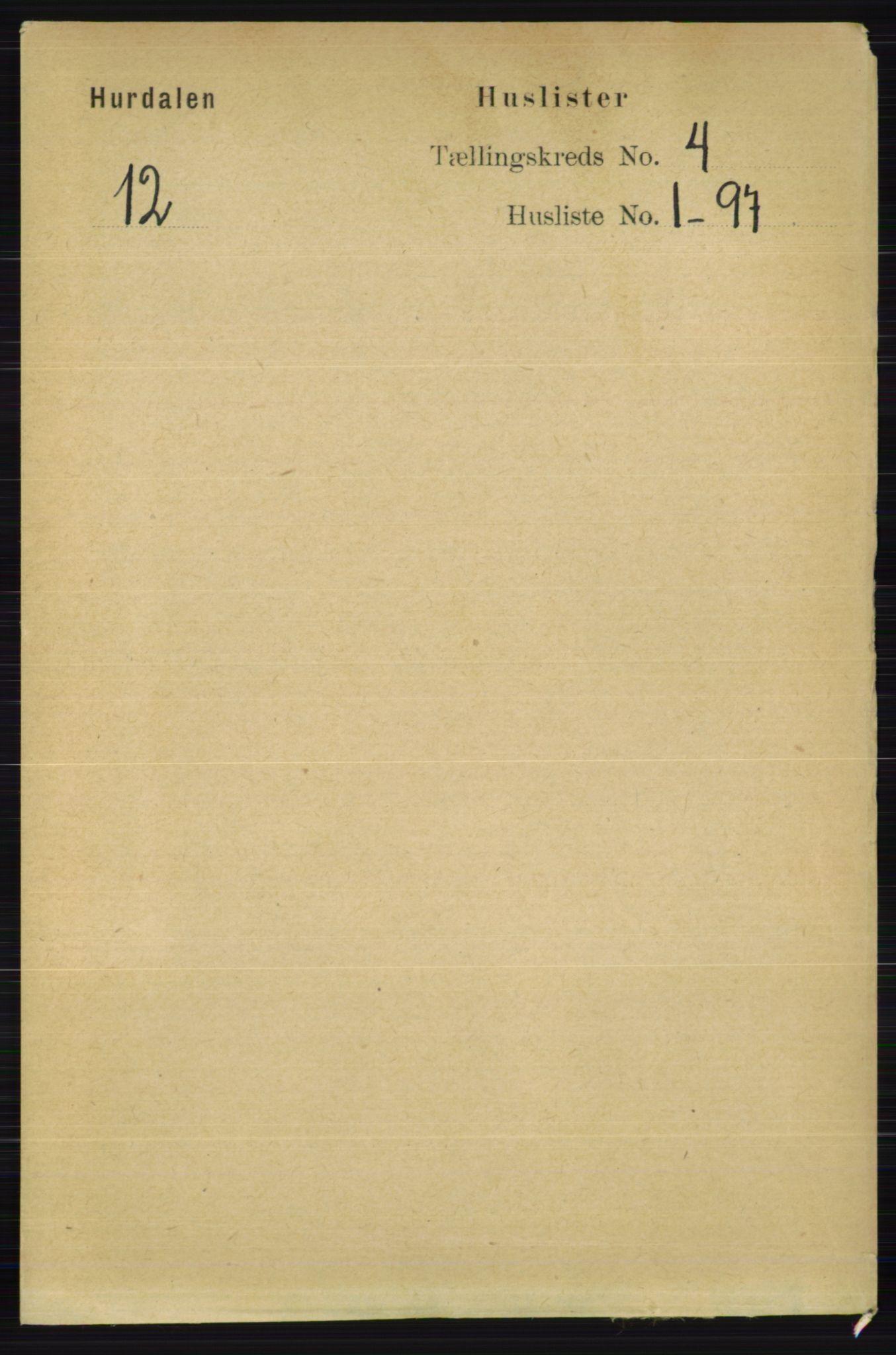 RA, Folketelling 1891 for 0239 Hurdal herred, 1891, s. 1322