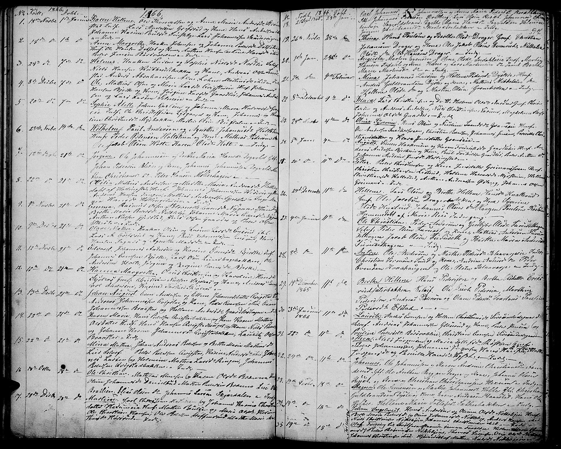 SAH, Vestre Toten prestekontor, H/Ha/Hab/L0005: Klokkerbok nr. 5, 1854-1870, s. 97