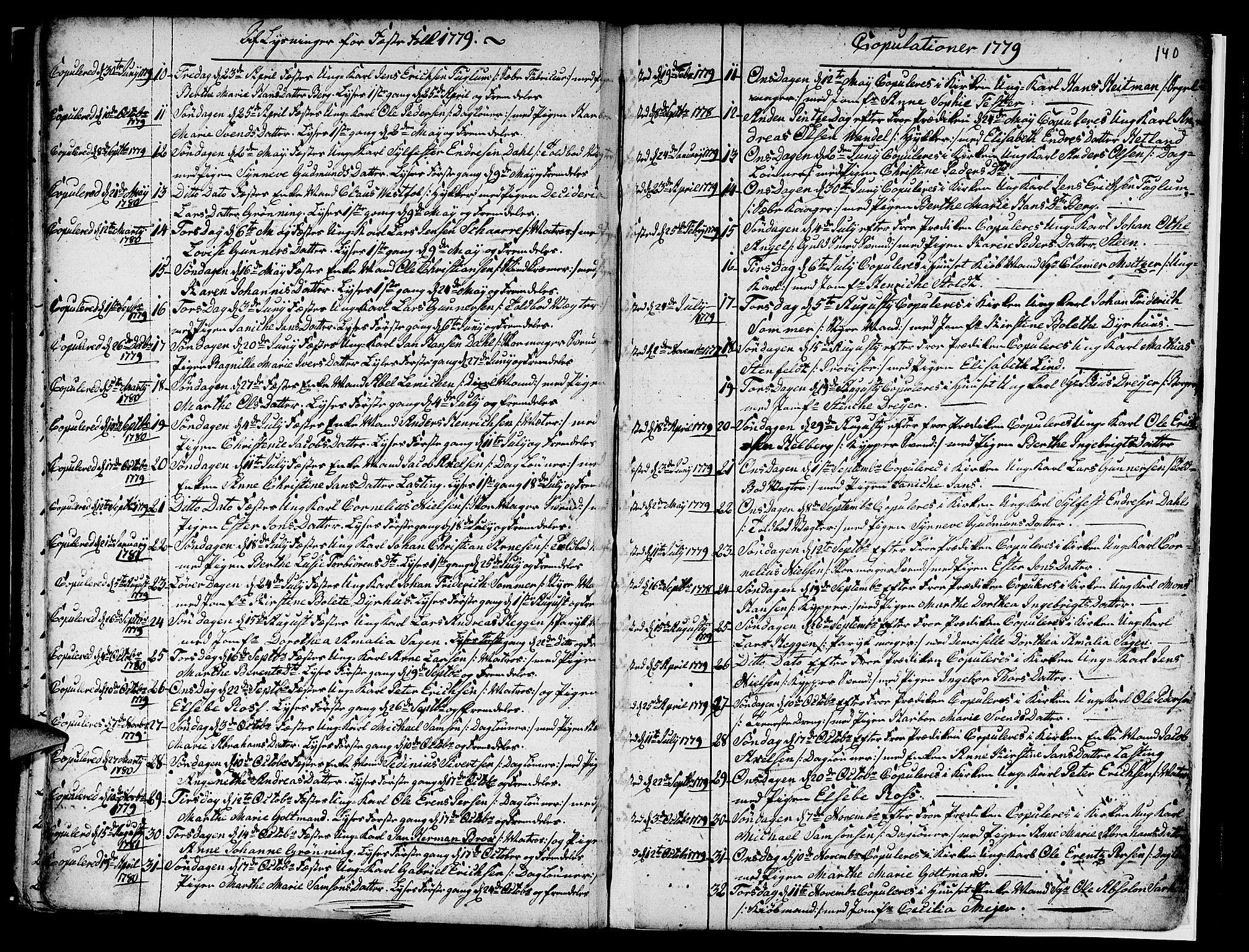 SAB, Nykirken Sokneprestembete, H/Haa: Ministerialbok nr. A 7, 1719-1781, s. 140