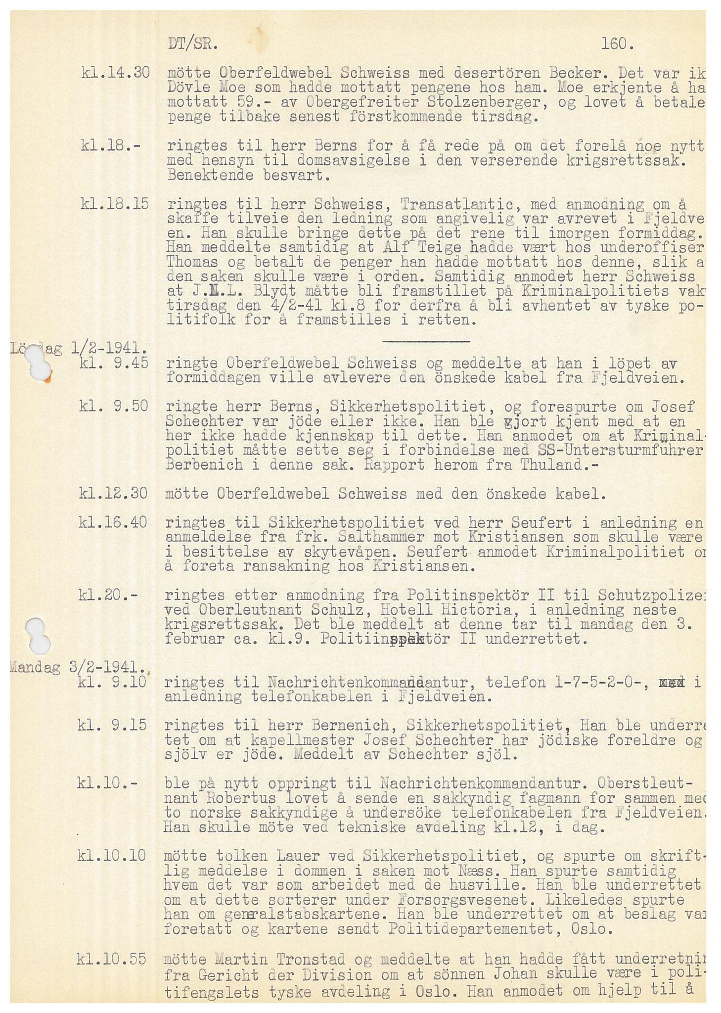 SAB, Bergen politidistrikt, Y/Ye/L0001: Avskrift av krigsdagbok av Dankert Thuland, 1940-1941, s. 160