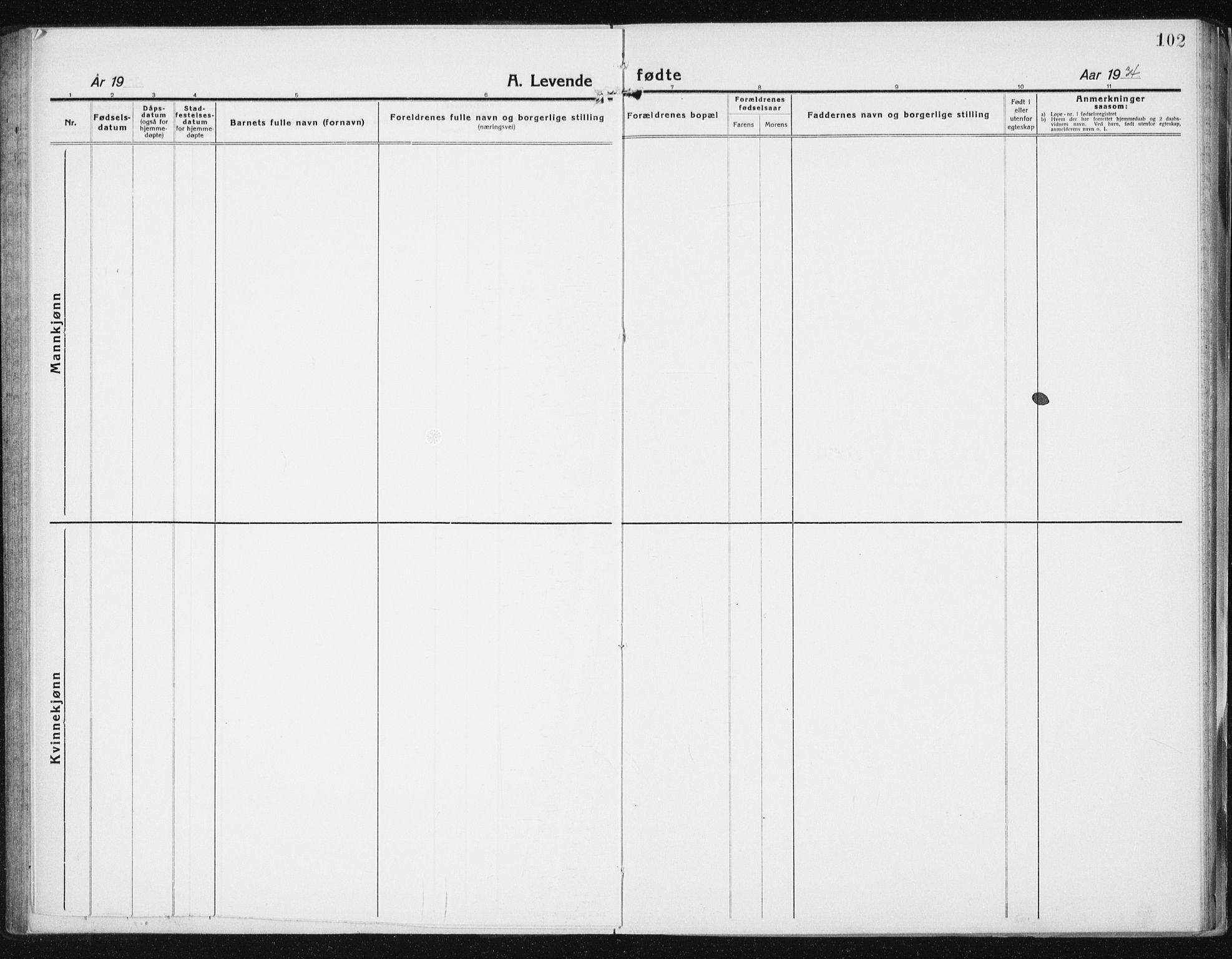 SAT, Ministerialprotokoller, klokkerbøker og fødselsregistre - Sør-Trøndelag, 640/L0589: Klokkerbok nr. 640C06, 1922-1934, s. 102