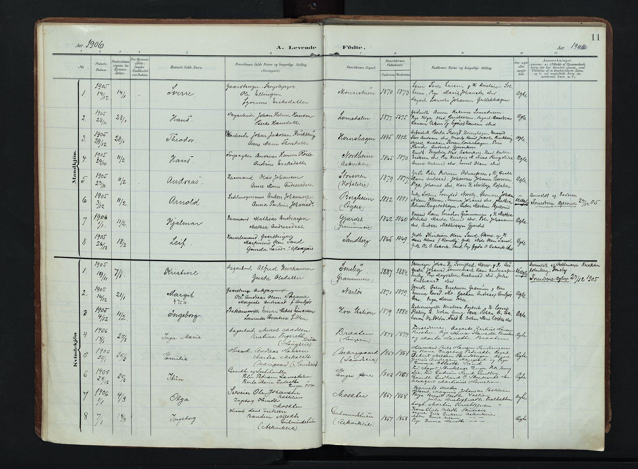 SAH, Søndre Land prestekontor, K/L0007: Ministerialbok nr. 7, 1905-1914, s. 11