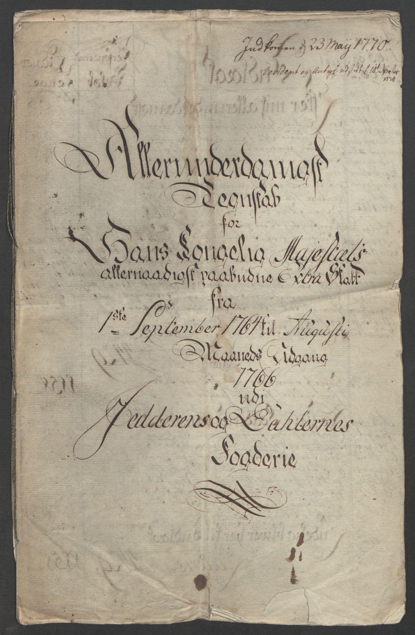 RA, Rentekammeret inntil 1814, Reviderte regnskaper, Fogderegnskap, R46/L2836: Ekstraskatten Jæren og Dalane, 1764-1766, s. 5