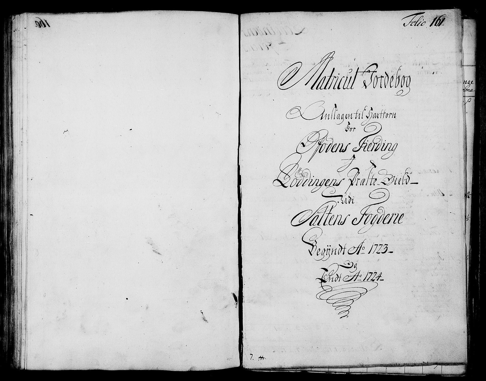 RA, Rentekammeret inntil 1814, Realistisk ordnet avdeling, N/Nb/Nbf/L0173: Salten matrikkelprotokoll, 1723, s. 160b-161a