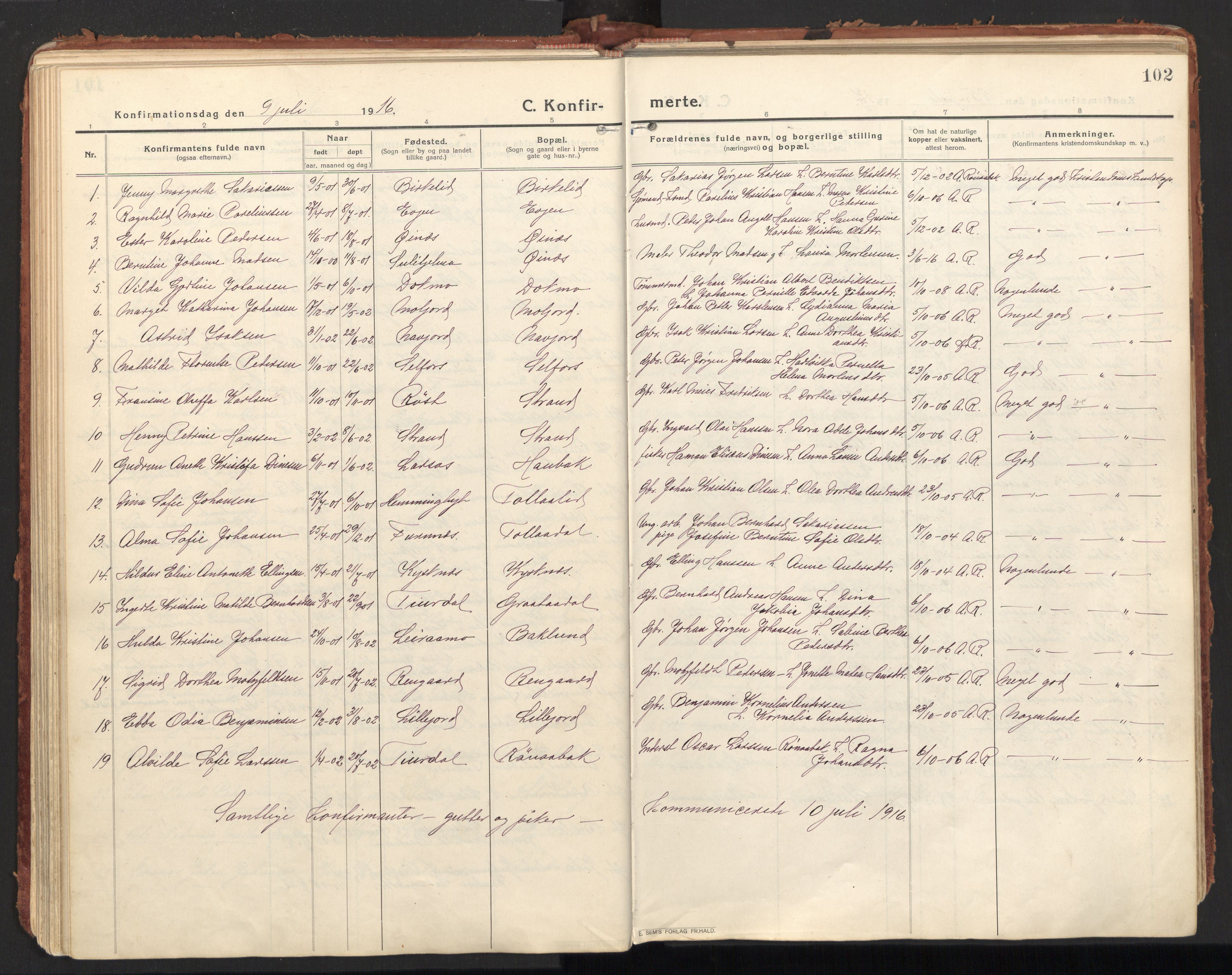 SAT, Ministerialprotokoller, klokkerbøker og fødselsregistre - Nordland, 846/L0650: Ministerialbok nr. 846A08, 1916-1935, s. 102