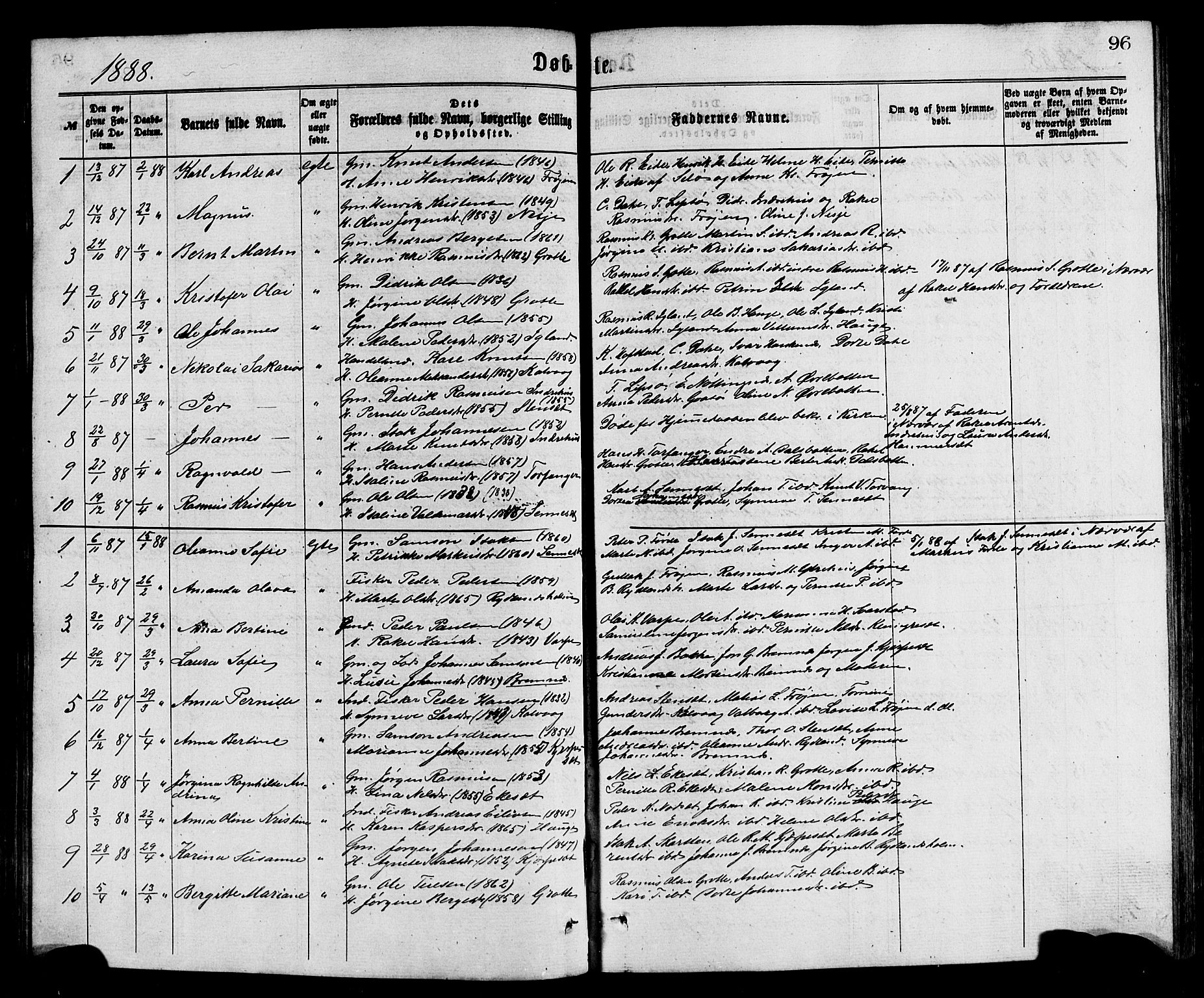 SAB, Bremanger Sokneprestembete, H/Hab: Klokkerbok nr. A 2, 1866-1889, s. 96