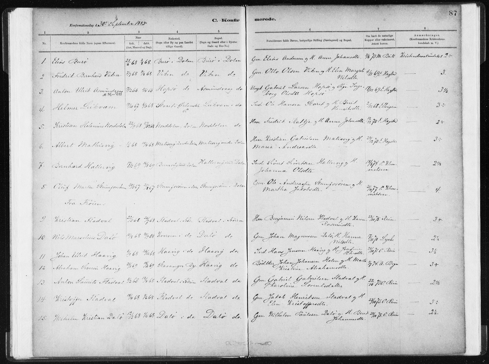 SAT, Ministerialprotokoller, klokkerbøker og fødselsregistre - Sør-Trøndelag, 634/L0533: Ministerialbok nr. 634A09, 1882-1901, s. 87