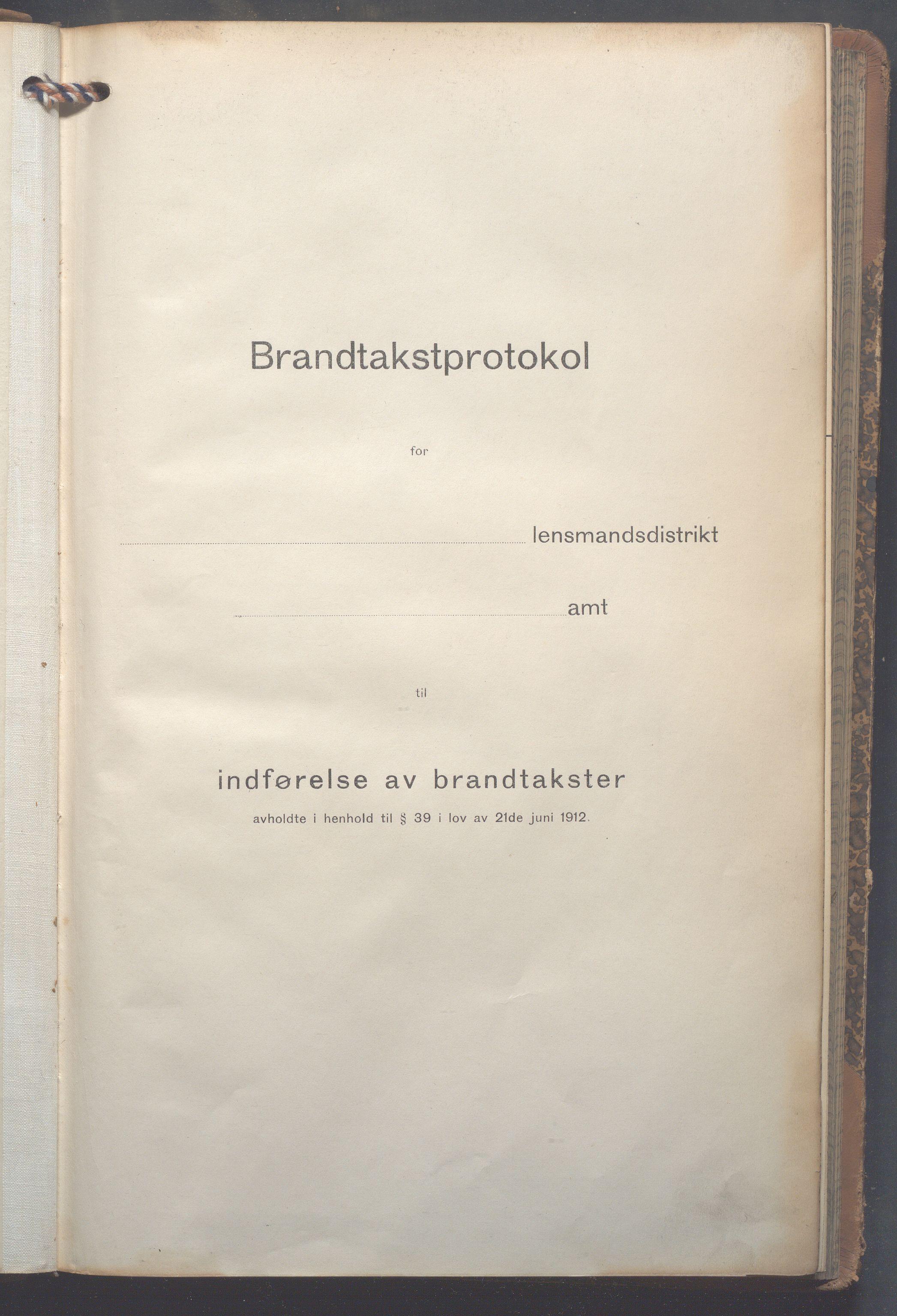 OBA, Lensmennene i Aker, F/Fc/L0015: Branntakstprotokoll, 1914-1916, s. 1
