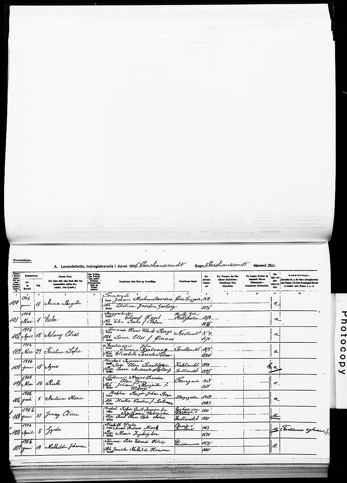 SAT, Ministerialprotokoller, klokkerbøker og fødselsregistre - Møre og Romsdal, 572/L0858: Ministerialbok nr. 572D02, 1903-1912