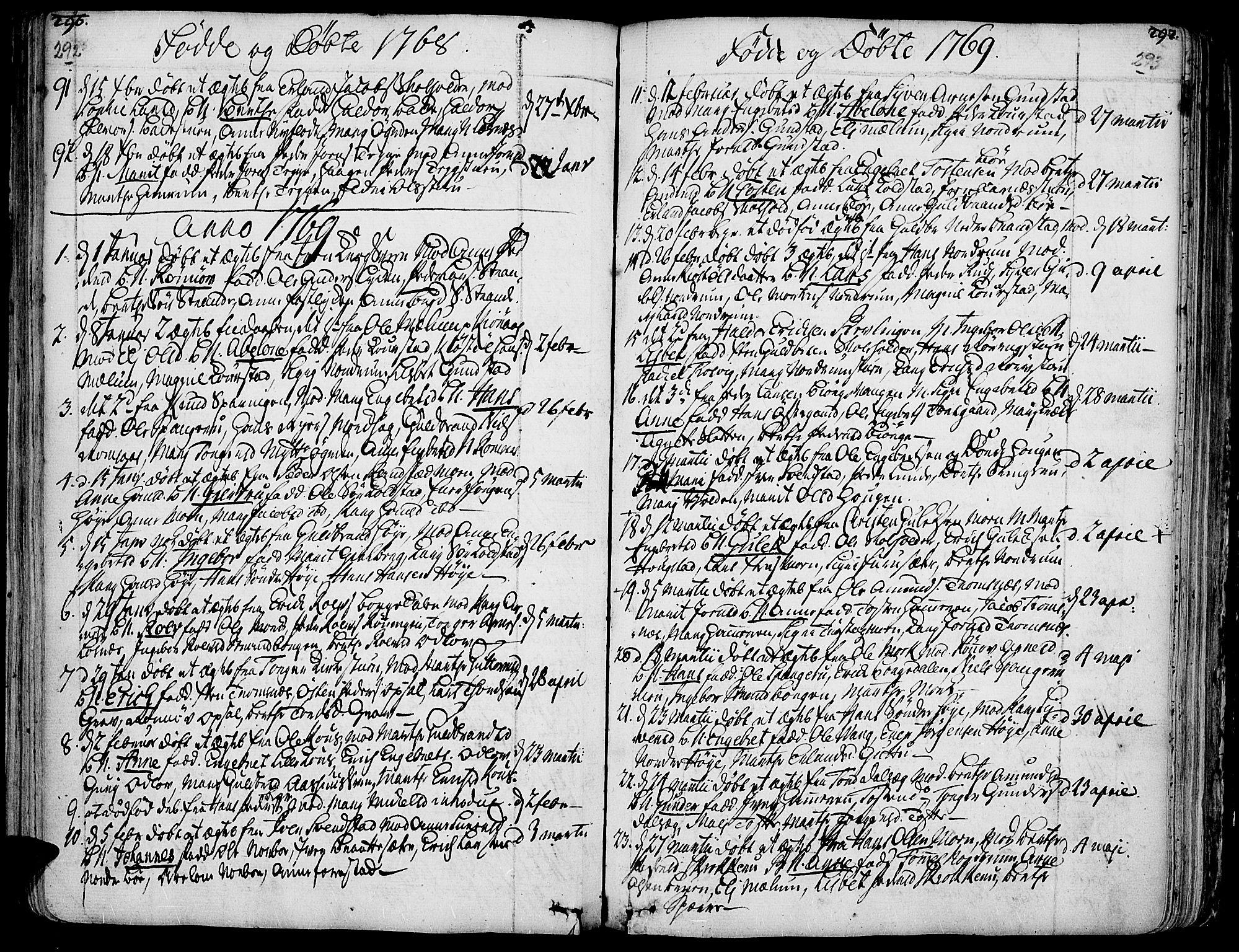SAH, Ringebu prestekontor, Ministerialbok nr. 2, 1734-1780, s. 292-293