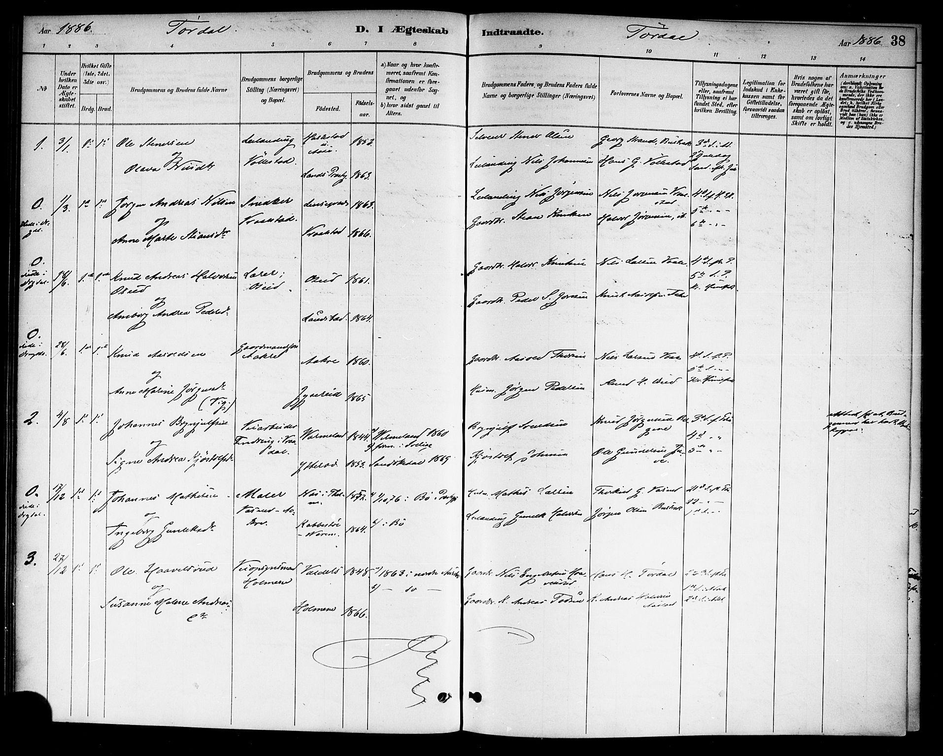 SAKO, Drangedal kirkebøker, F/Fa/L0011: Ministerialbok nr. 11 /2, 1885-1894, s. 38