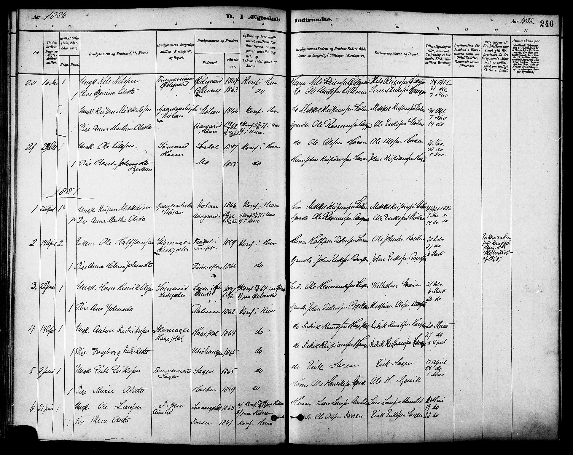 SAT, Ministerialprotokoller, klokkerbøker og fødselsregistre - Sør-Trøndelag, 630/L0496: Ministerialbok nr. 630A09, 1879-1895, s. 246