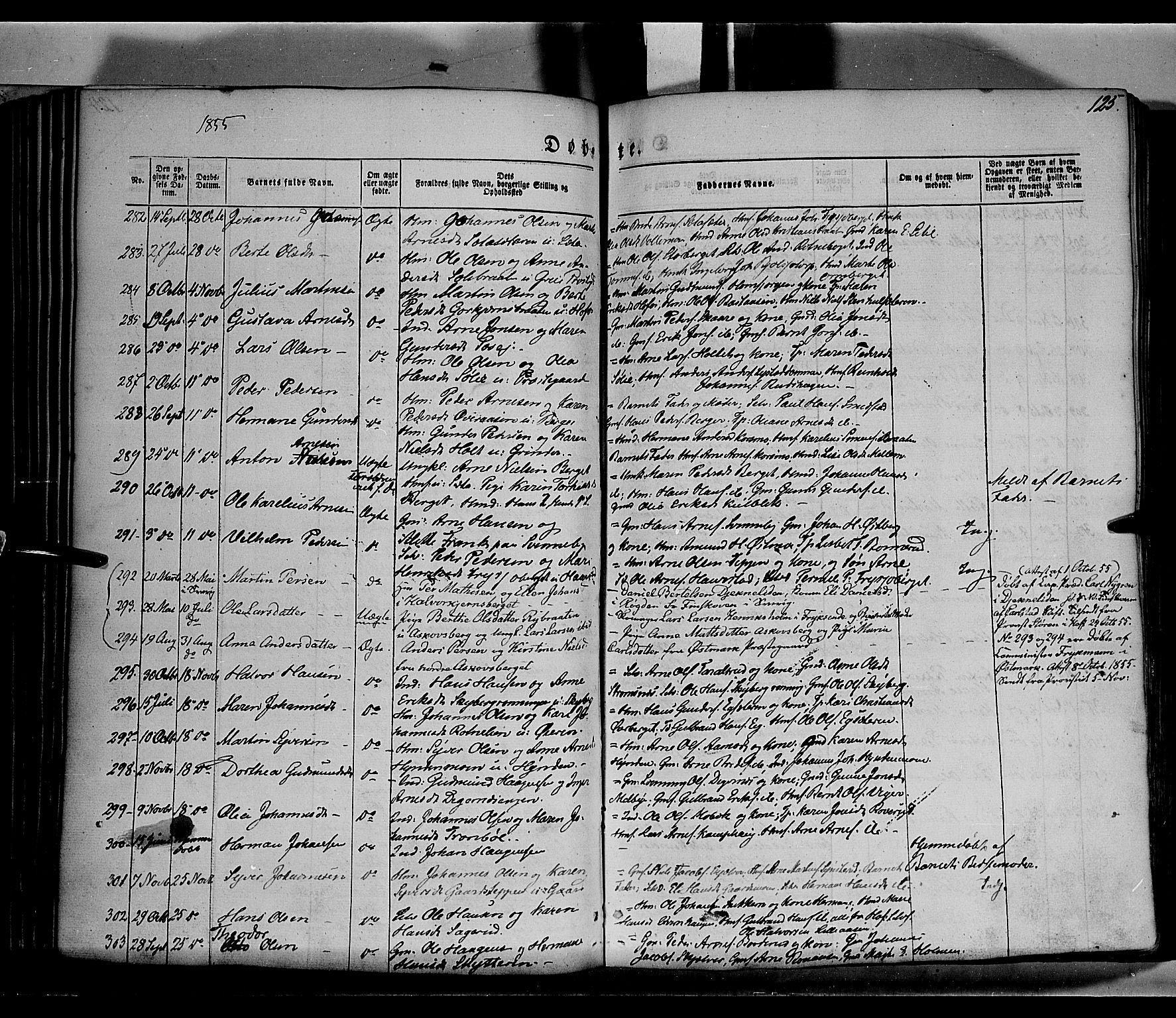 SAH, Grue prestekontor, Ministerialbok nr. 8, 1847-1858, s. 125