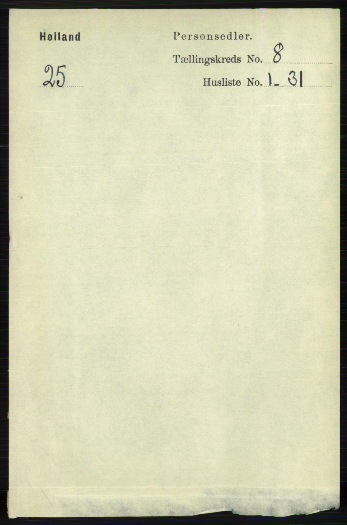 RA, Folketelling 1891 for 1123 Høyland herred, 1891, s. 2960