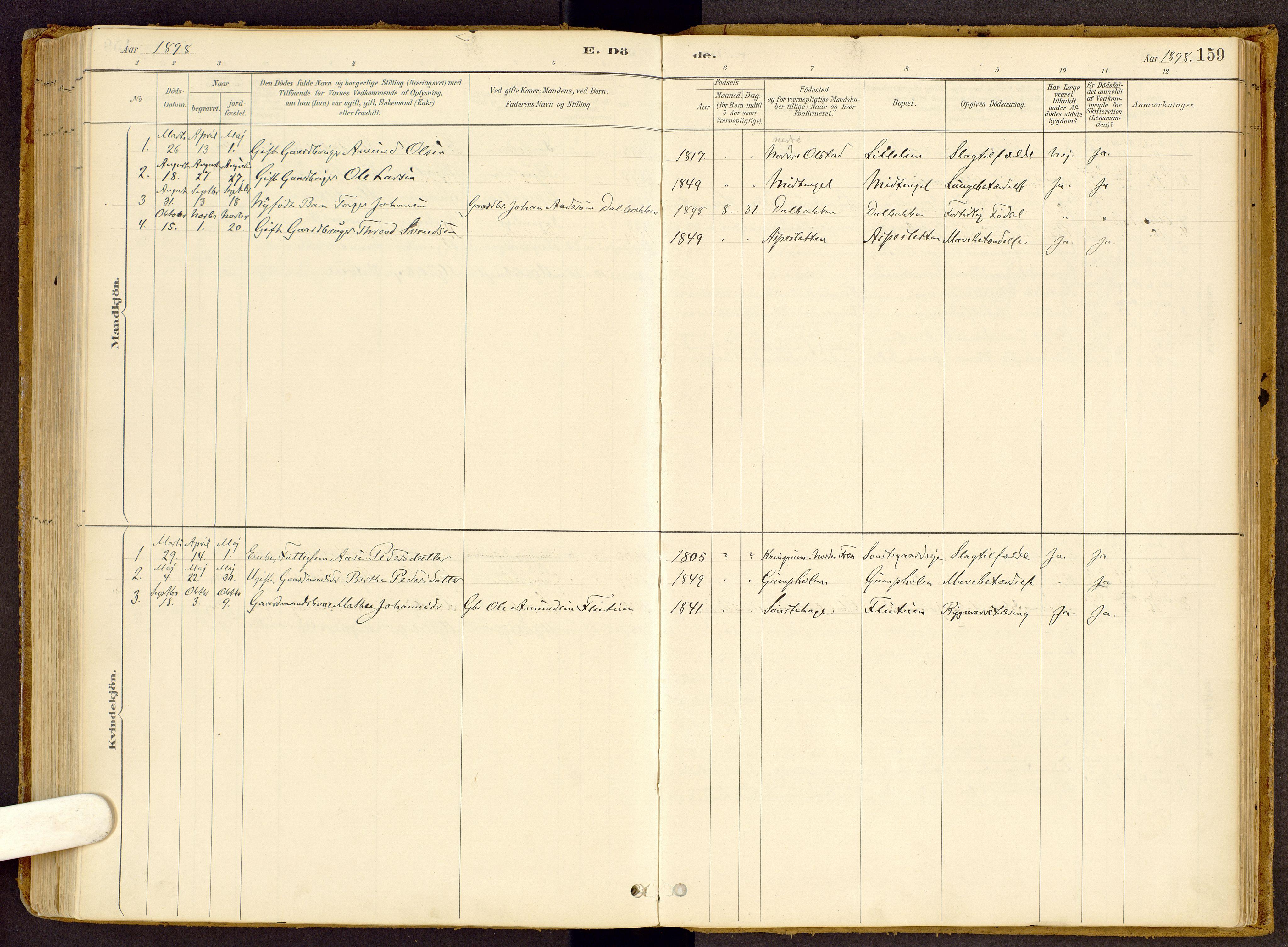 SAH, Vestre Gausdal prestekontor, Ministerialbok nr. 2, 1887-1918, s. 159