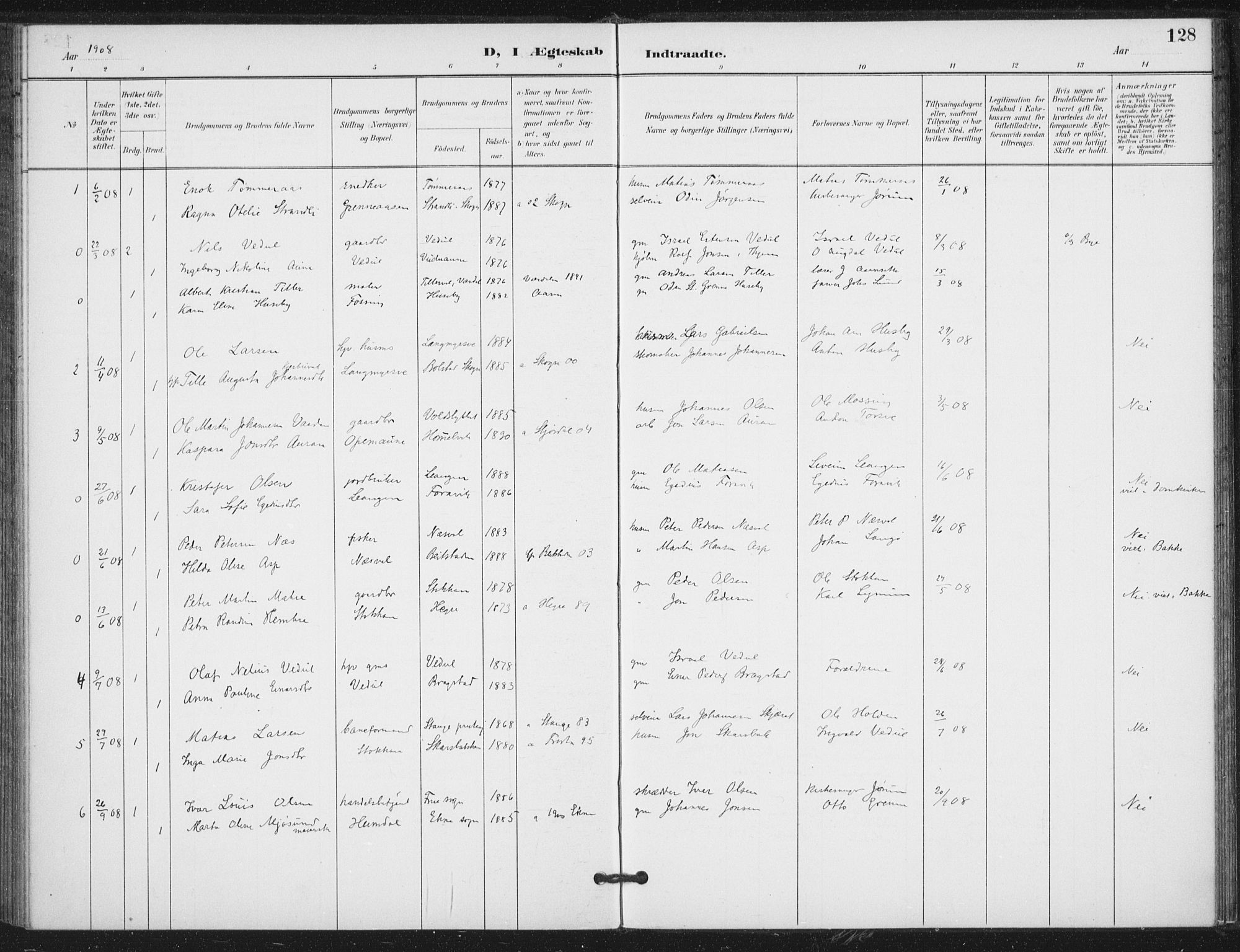 SAT, Ministerialprotokoller, klokkerbøker og fødselsregistre - Nord-Trøndelag, 714/L0131: Ministerialbok nr. 714A02, 1896-1918, s. 128